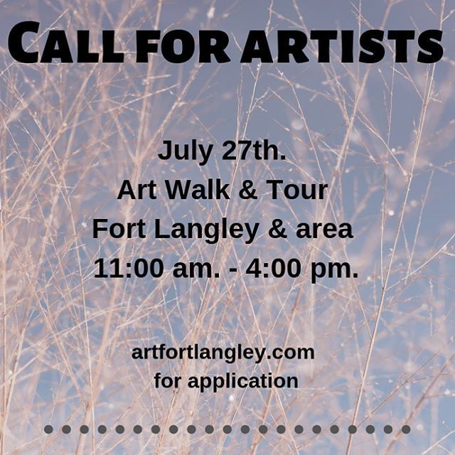 JAZZ Festival Weekend! Get in on the action! #callforartists . Is your studio in the #fortlangley area? Get in on our event .  @fortlangleyjazzfest weekend applications are available through our website .