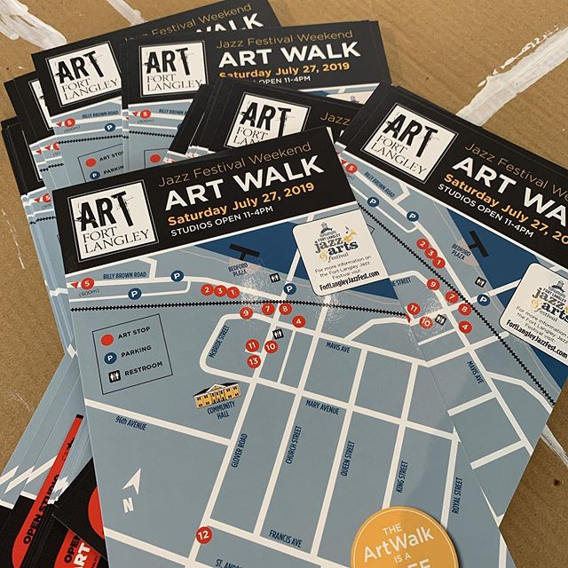 Fresh off the press! New maps for the Art Fort Langley Summer Art Walk. We've got 13 participating artists studios and galleries that will be open from 11-4pm on Saturday, July 27th. Come down to Fort Langley and meet the artists and check out where they work. : #fortlangley #artfortlangley #artwalk #openstudios #artists #galleries #art #langleyevents #localartists #artcollectors #originalart #funsaturday @number52gallery @thefortfinery @thekubegallery @carolina_em_em @beargagallery @redpotpottery @kizmit_gift_gallery @tap.fort.langley @fortgallery @brianbuhler @rempelmercantile