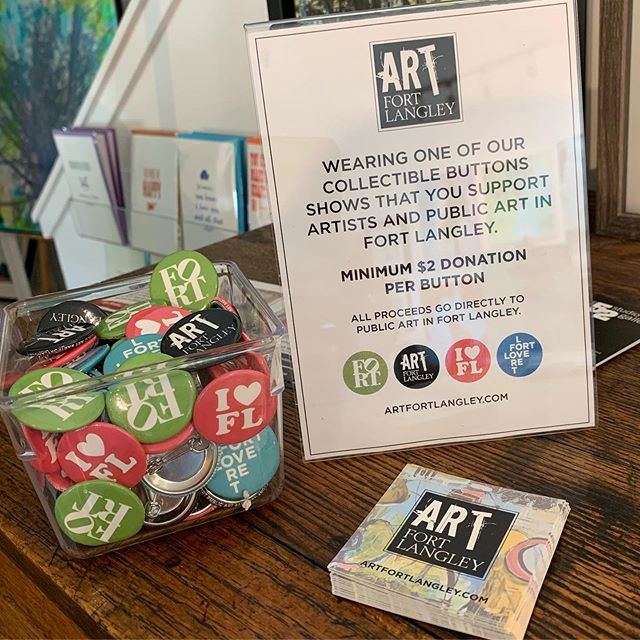Our Public Art fundraising buttons are now also available at these local supportive shops: @rempelmercantile @fortgallery @bagheeralangley and still available at @thefortfinery and @number52gallery  We'll try to have them at many of the Art Tour stops so they are easy to find. Collect them all. #artfortlangley #localart #support #fortlangley #fortlangleyjazzfest #summerartwalk #art #artists #events #thankyou #fortlove