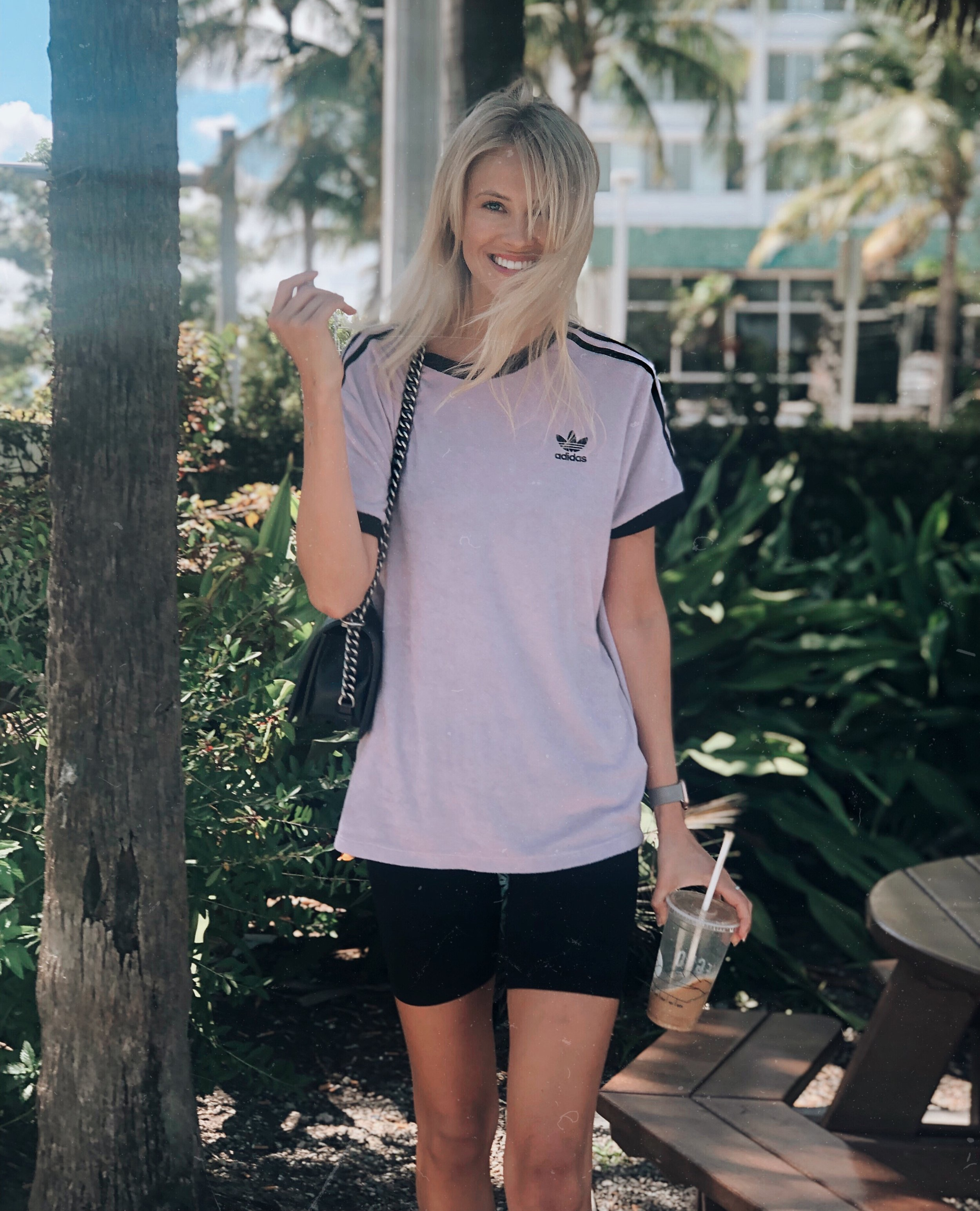 T-shirt- Adidas, biker shorts - H&M,