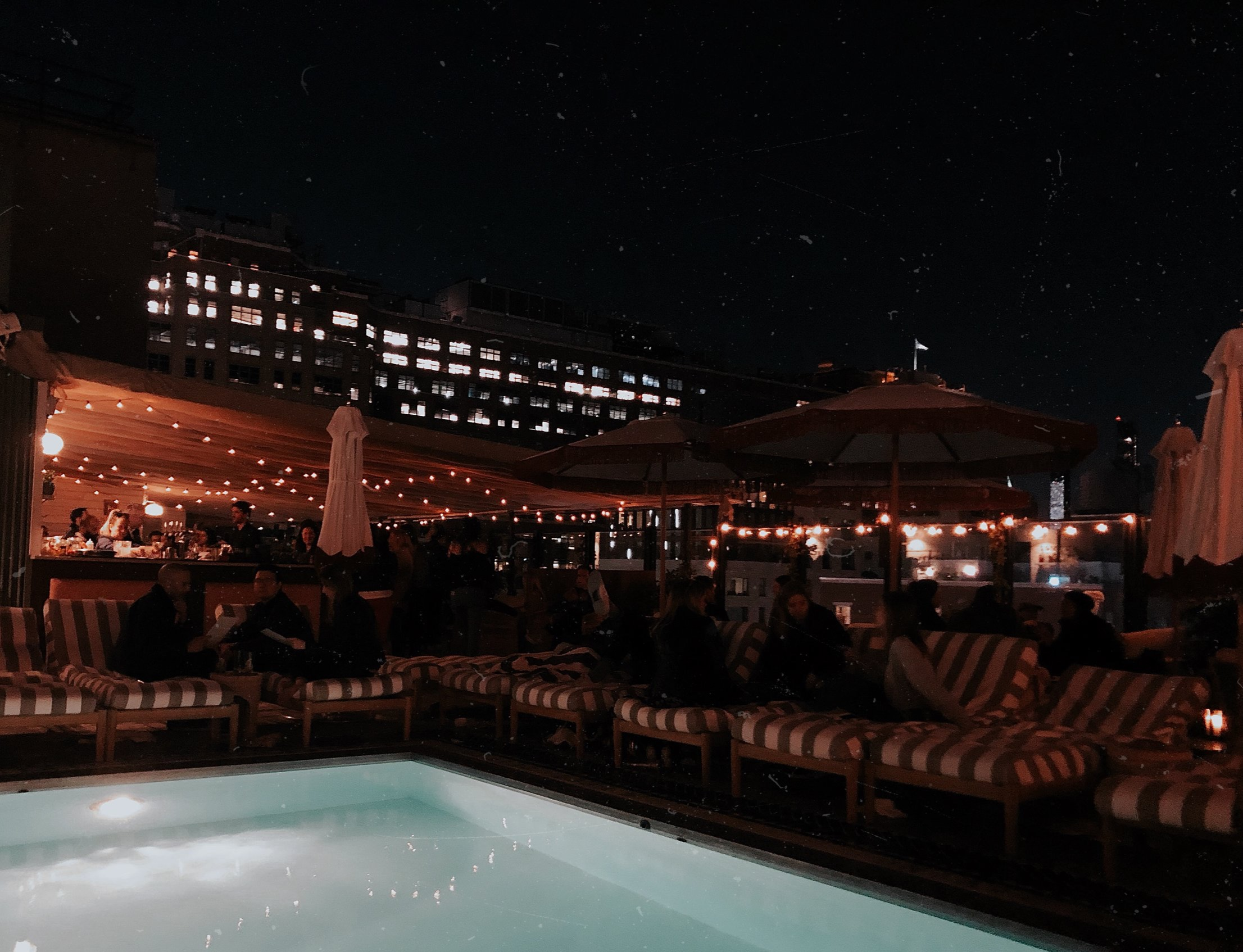 Soho House, rooftop NYC by night