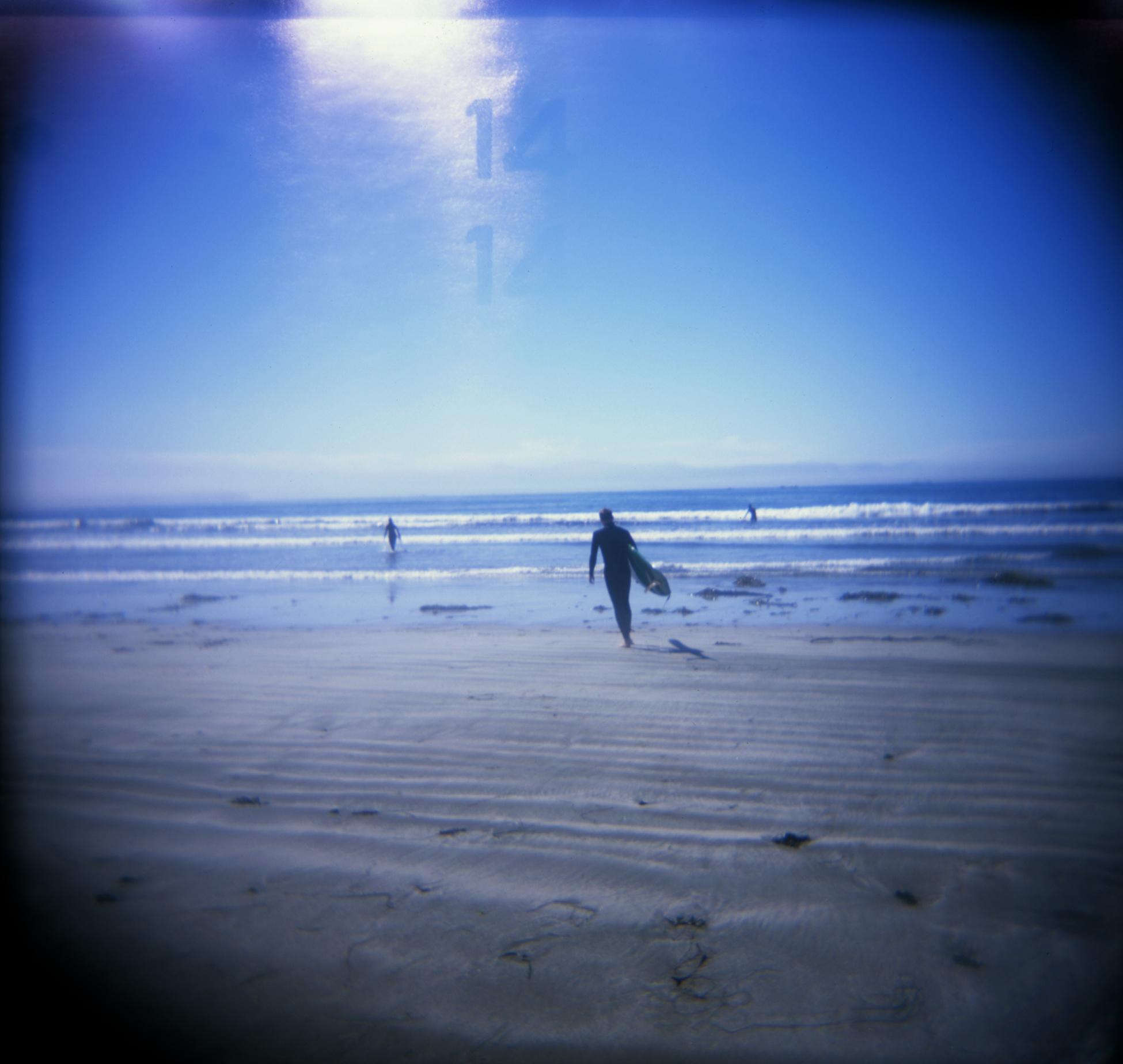 Surfing at Hobuck Beach, WA