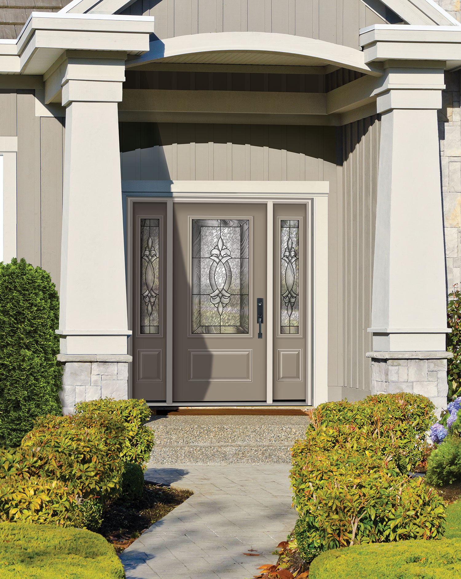 Key Features - Prefinished White Polytex surfaceDistinct raised mouldingBuilt in exclusive Colonial style door lite frameSelected 8' models available in wood edge onlyTop-quality 24-gauge galvanized construction offers superior durability and tested performanceWood Edge Construction featuring wider stiles provides enhanced security, durability and strengthPolyurethane foam core for superior thermal performance and added door strengthUnique panel configurationOpen and ready for glassFeatures built in door lite frameAluminum constructionDry glaze systemScrew cap cover on interior to cover screwsSteel doors can be customized in so many ways, from panel configuration, to glass style and design and most importantly colour.