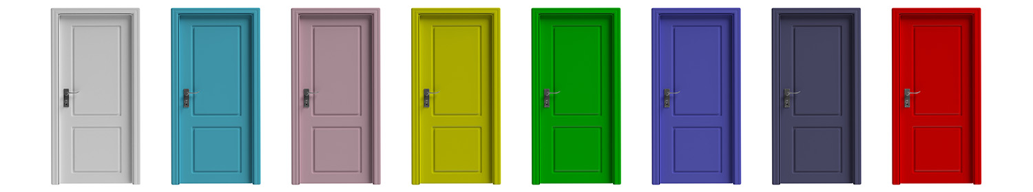Set of various colors closed doors isolated cutout on white back