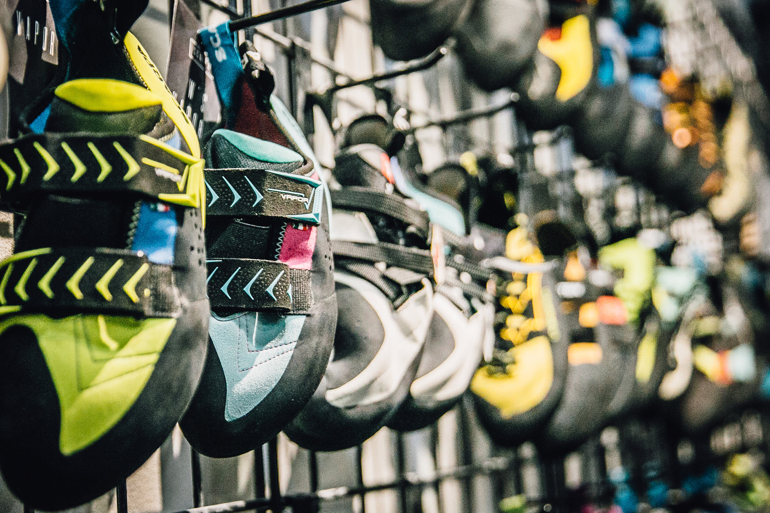 Climbing Shoes - Our gear shop is home to the largest selection of climbing shoes in NYC. Whether you're looking for for a particular brand, fit, or color, we'll get you into the pair of your dreams.Here are the brands we carry:ButoraEvolvFive TenLa SportivaScarpaSo iLLTenayaUnparallel