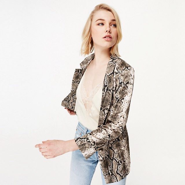Owen Snake Blazer $365 ⠀⠀⠀⠀⠀⠀⠀⠀⠀ #covered #covereduptown #uptown #mpls #minnesota #shoplocal #shopsmall #shopcovered ⠀⠀⠀⠀⠀⠀⠀⠀⠀ Call or DM to order!