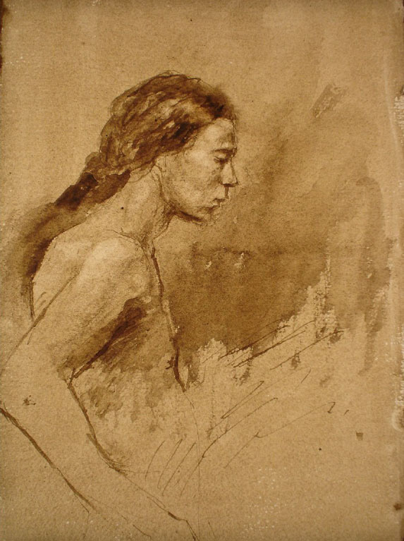Young Man with Long Hair. Pen and brown ink on prepared paper ,11 x 7 inches.jpg