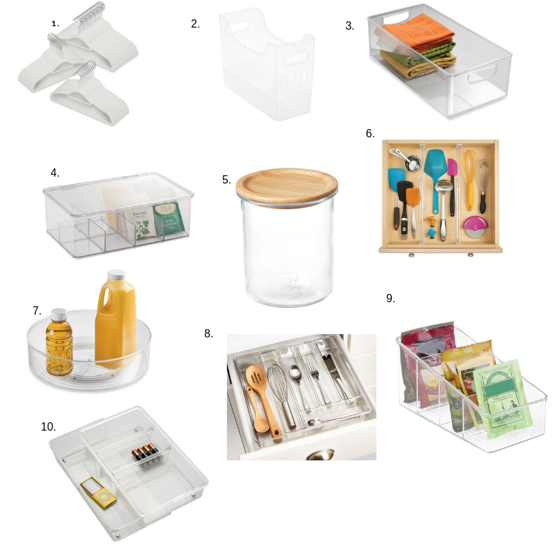 1.  Real Simple Slim Hangers   2.  Multi-Purpose Bins   3. i Design Cabinet Binz   4.  i Design Cabinet Binz Tea Box   5.  Ikea 365 Jar with Bamboo Lid   6. i  Design adjustable acrylic drawer divider   7.  i Design Fridge Binz   8.  i Design expandable cutlery tray   9.  i Design Packet Organizer   10.  i Design expandable Organizer