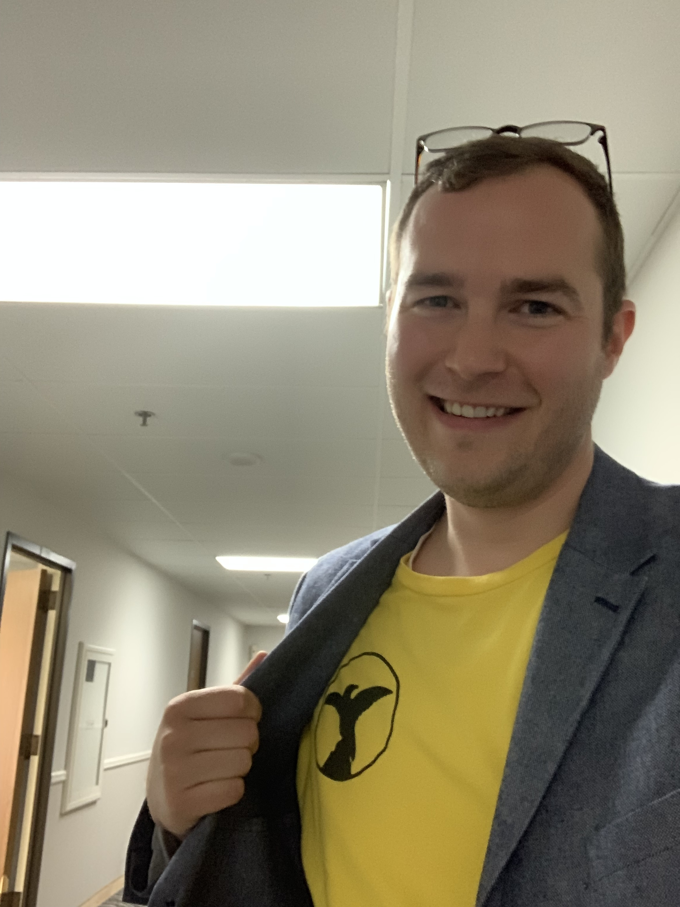 Jon wears his LA Times Guild shirt at the vote tally in solidarity with his colleagues on Tuesday.