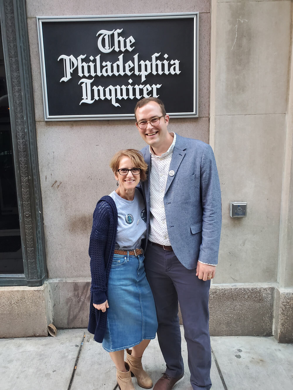Diane and Jon outside The Philadelphia Inquirer