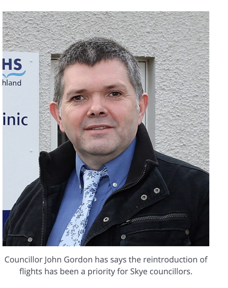Councillor John Gordon has says the reintroduction of flights has been a priority for Skye councillors.