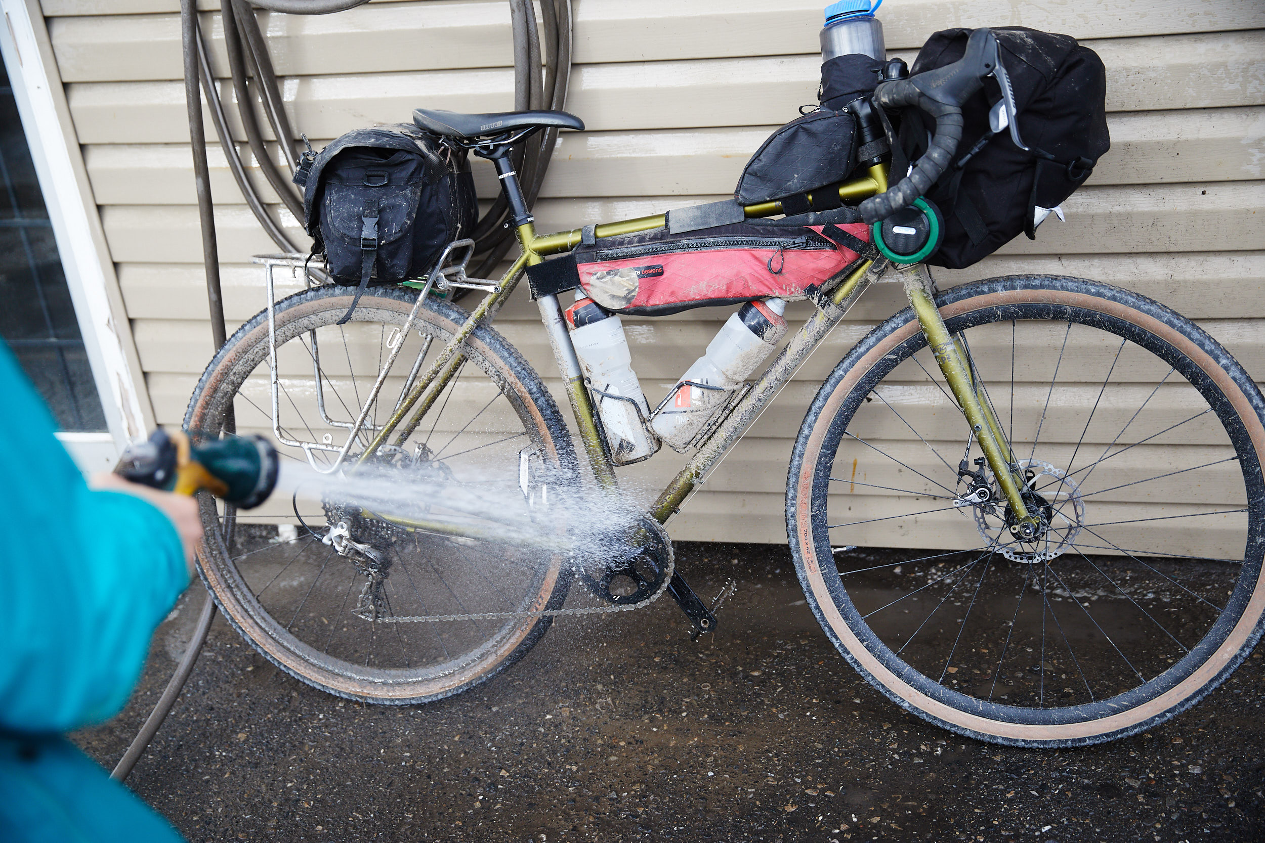 Thankfully we had an opportunity to wash off the bikes and sleep in a motel so that we could dry off.