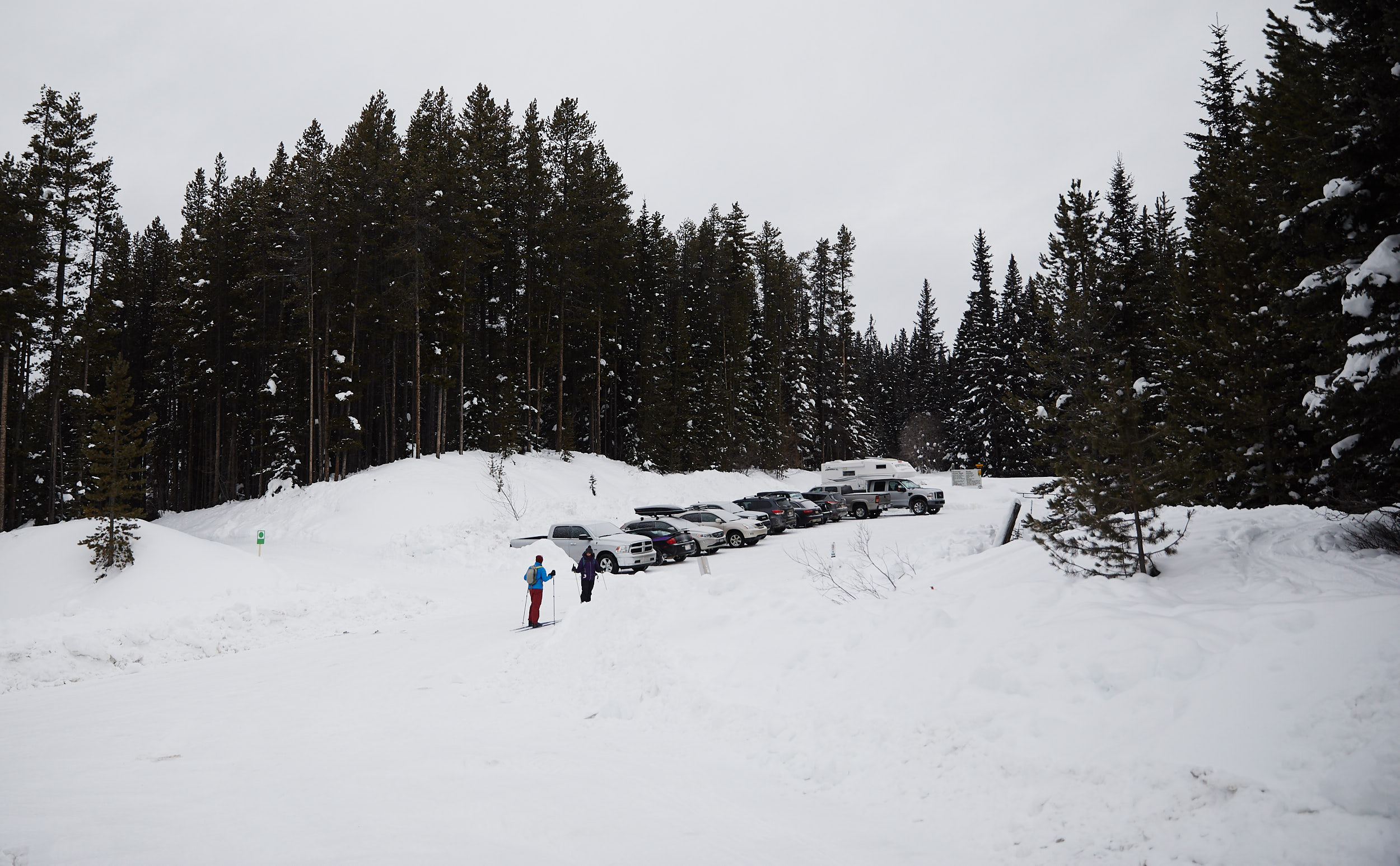 The trail starts in the creek parking lot, where you ski up the ski out towards Temple Lodge.