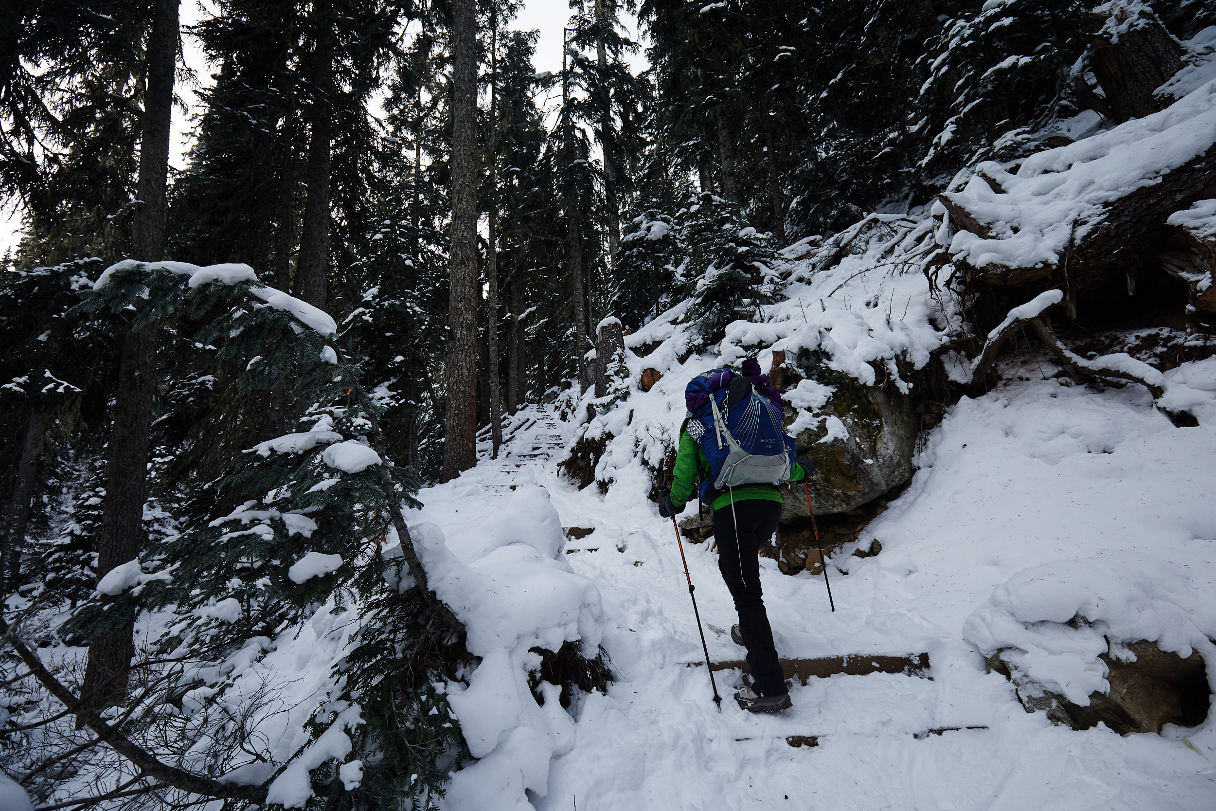 There are a set of wooden stairs that lead up to the 2nd lake. We had brought micro spikes in the event it would be icy but we didn't end up using them.