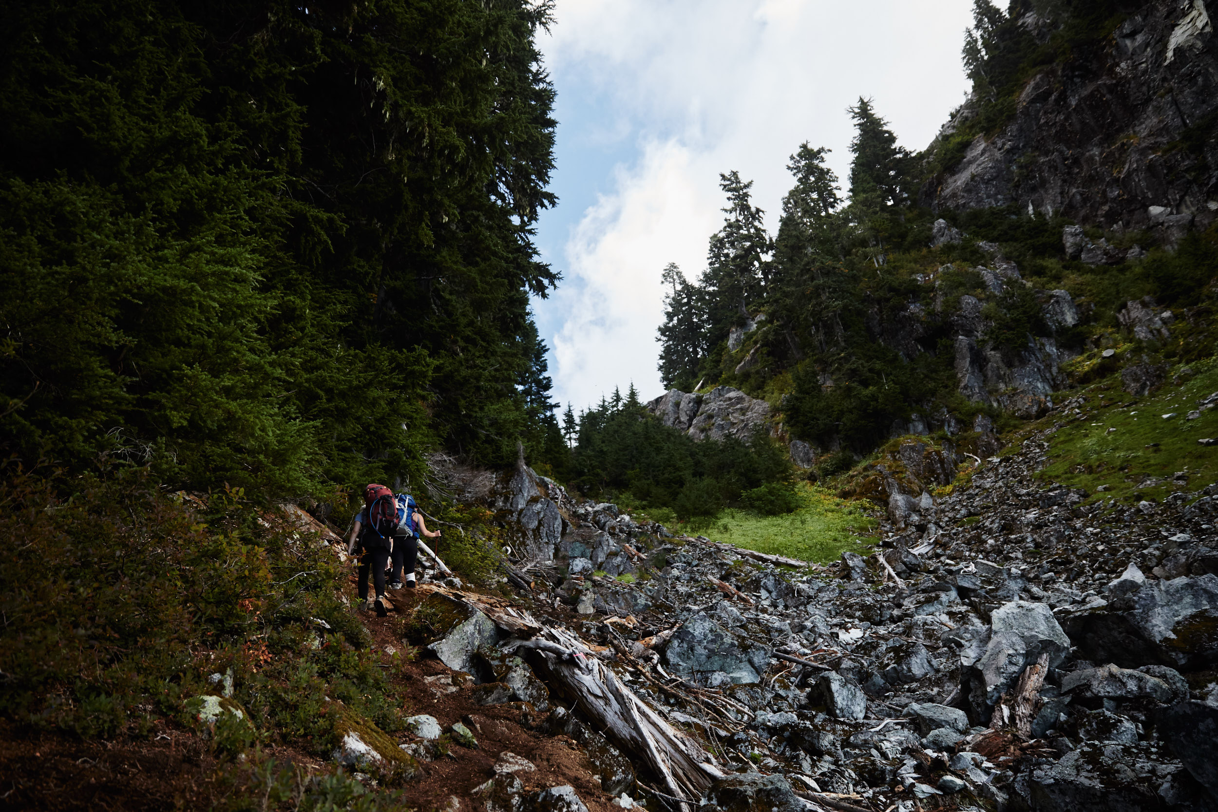 The last 200m has you hiking up a steep boulder field.