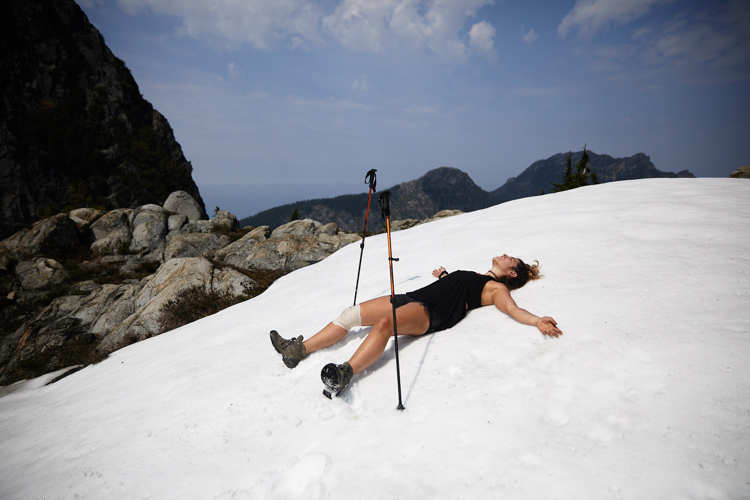 With all the elevation gain and extreme heat, the snow was amazingly refreshing.