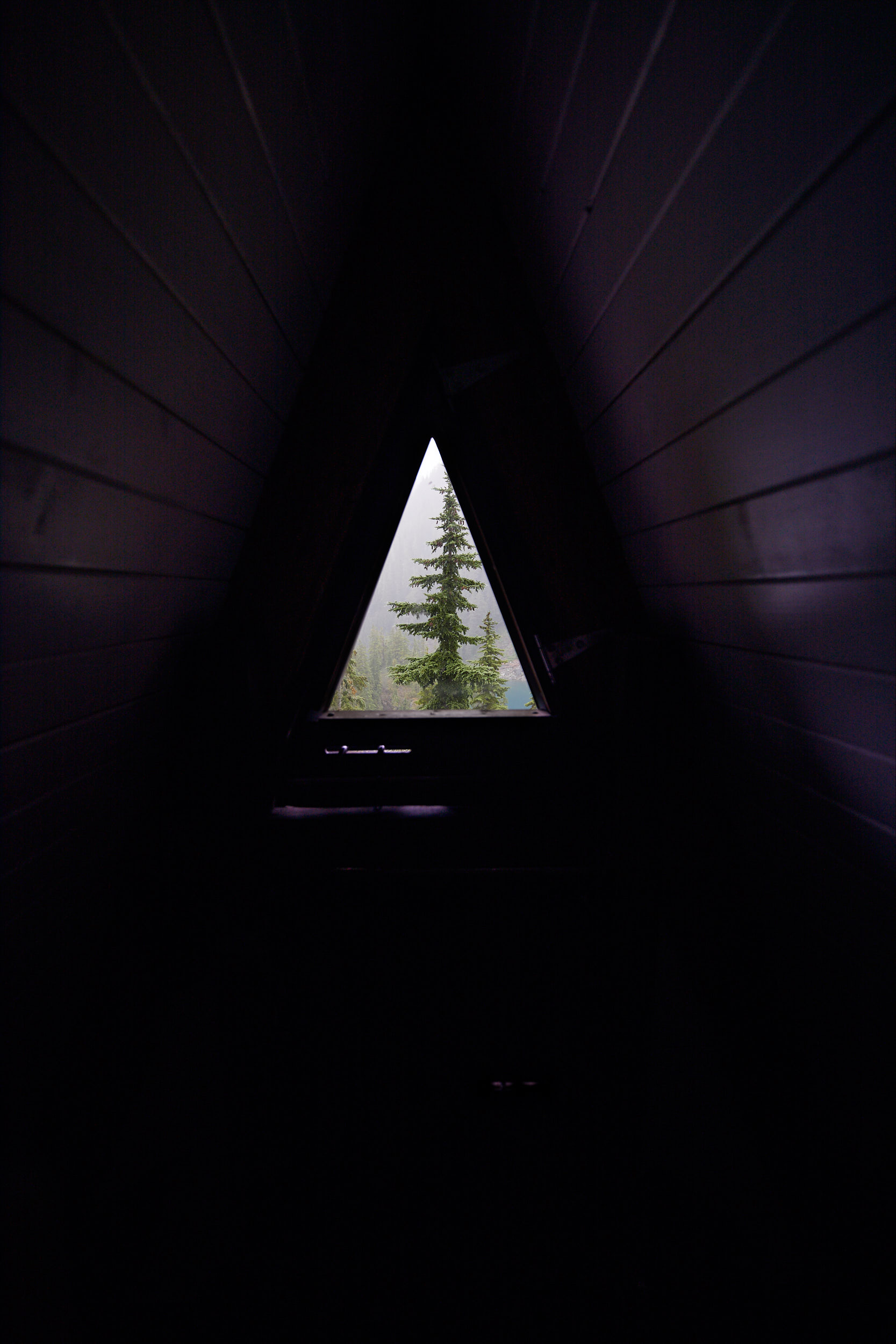 View from inside the top floor of the hut.