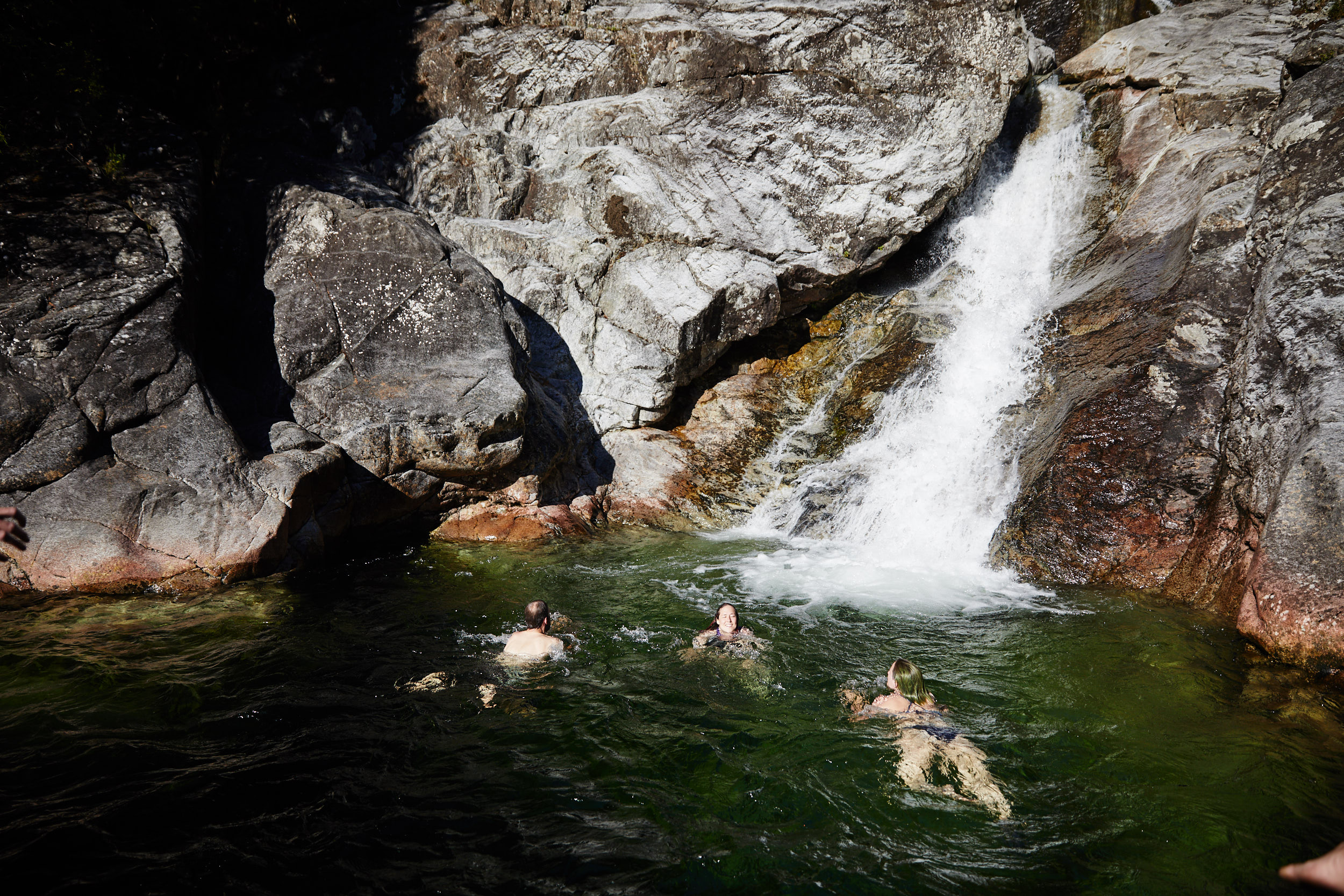 Near the top of the falls is hidden swimming area that had a few things you could jump off of into the deep waters.