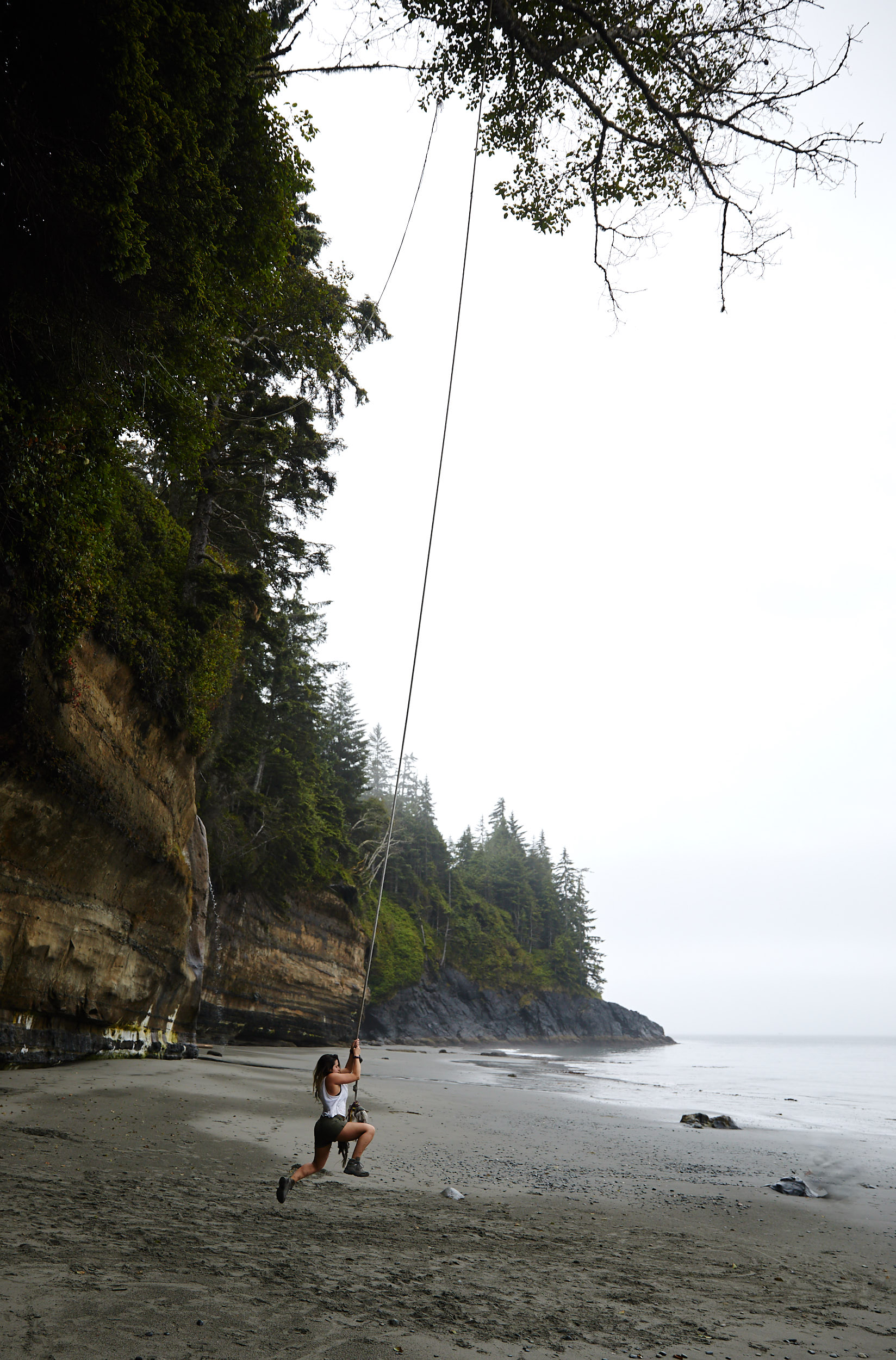 Someone had setup up a huge rope swing at the far end of the beach!