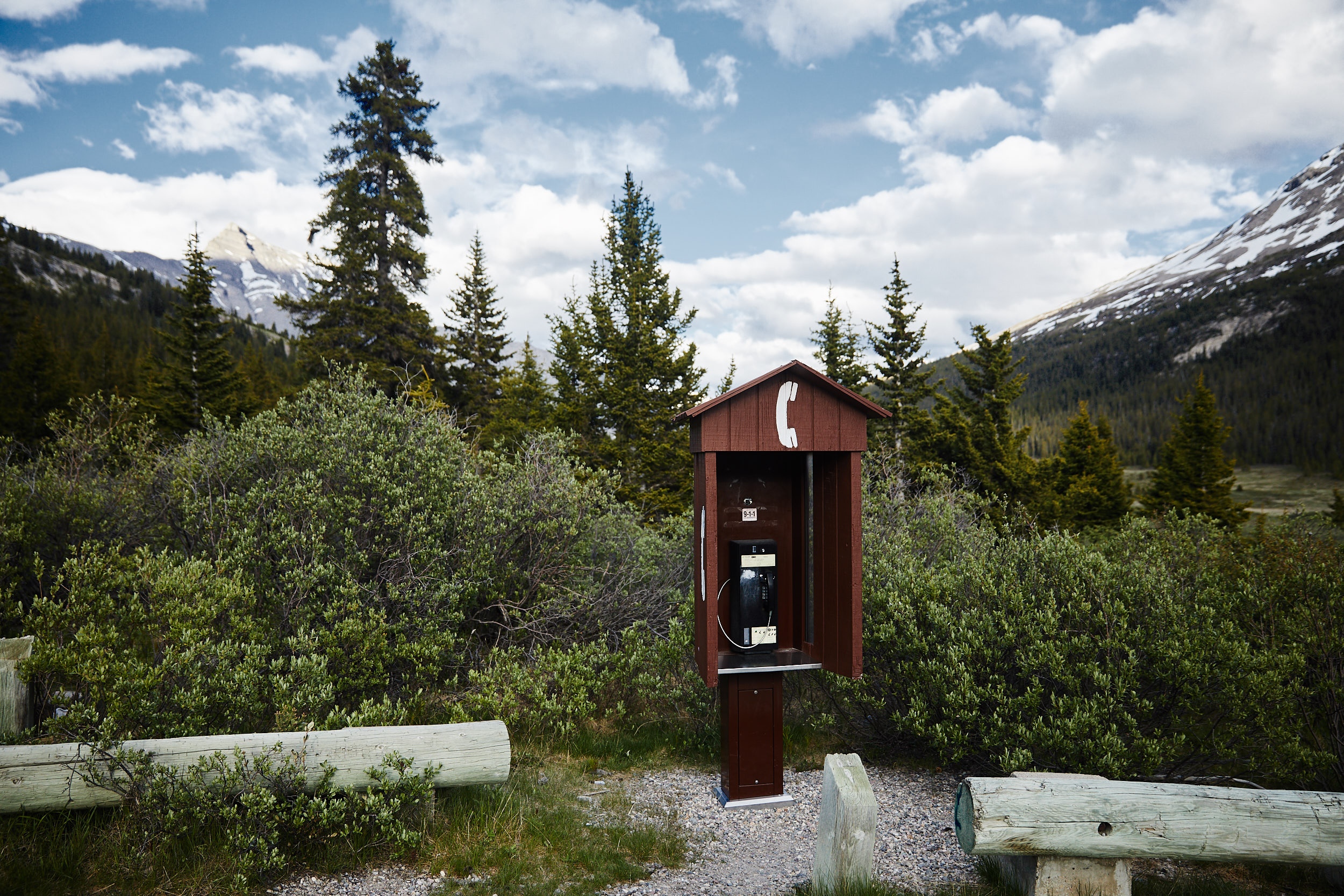 There is zero cell reception for the entire 230km stetch of highway, so the only method of communication is with a handful of lone phone booths.