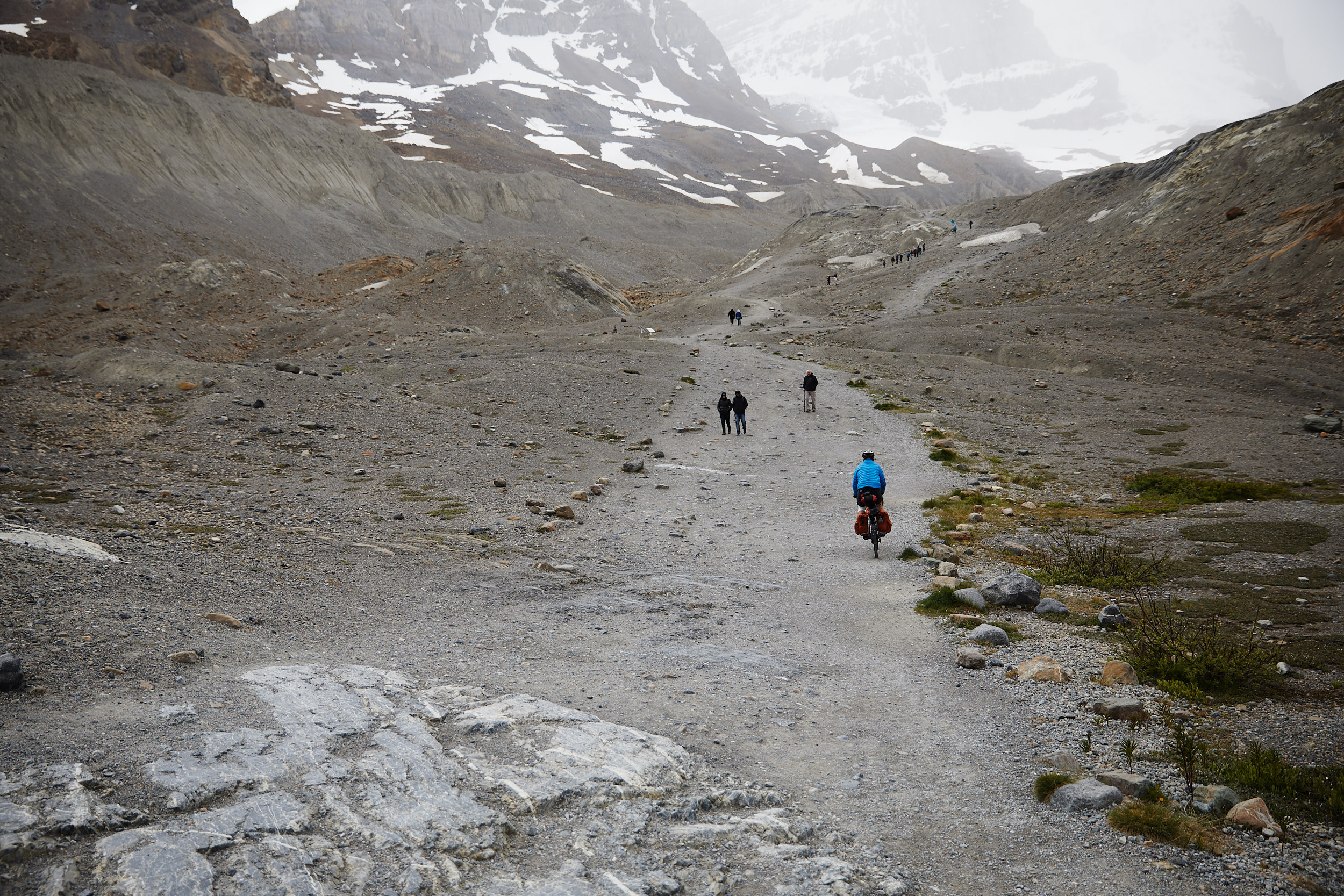 This gravel trail leads up to Athabasca Glacier. Jeff was the only one with tires robust enough to attempt the ride up.