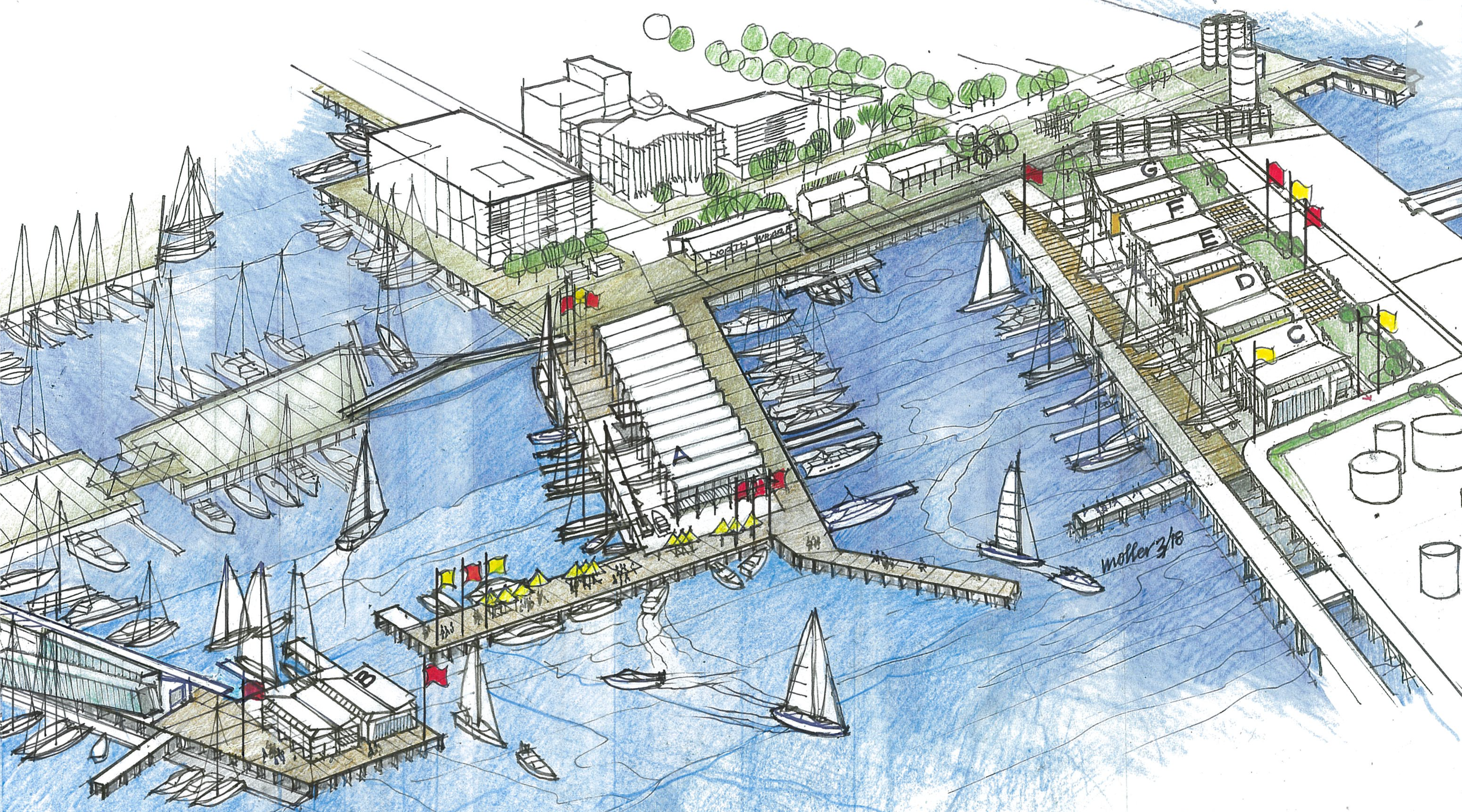 Artist impression of America's Cup Village and associated infrastructure by Moller Architects
