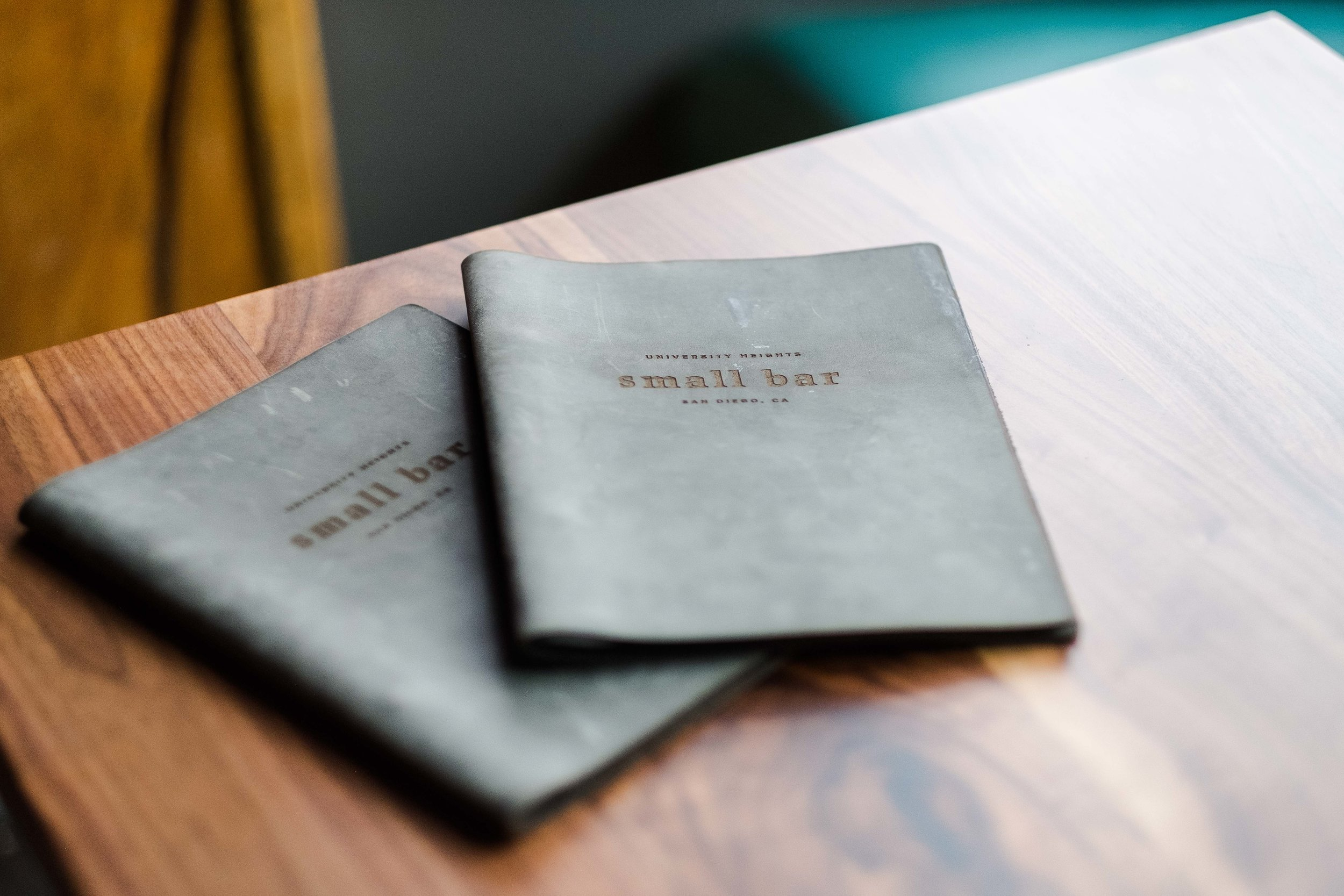 Locally crafted leather menu books