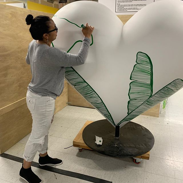 Some very exciting news! My Art was selected by the SF general foundation to be a part of their #heartsinsf program! If you've been to Union Square in San Francisco you've seen these giant 400 lb hearts! I still have so much to do but, it's coming along 🤞🏽 •• Special thank you to @goelevatorworks at @portworkspaces for letting me work in their space, @rtansey for taking photos of the process! •• #publicart #heartsinsf #womeninart #botanicalart #bayareanews #workingartist #sculpturalart #shecan #creativitydaily #oaklandartmurmur