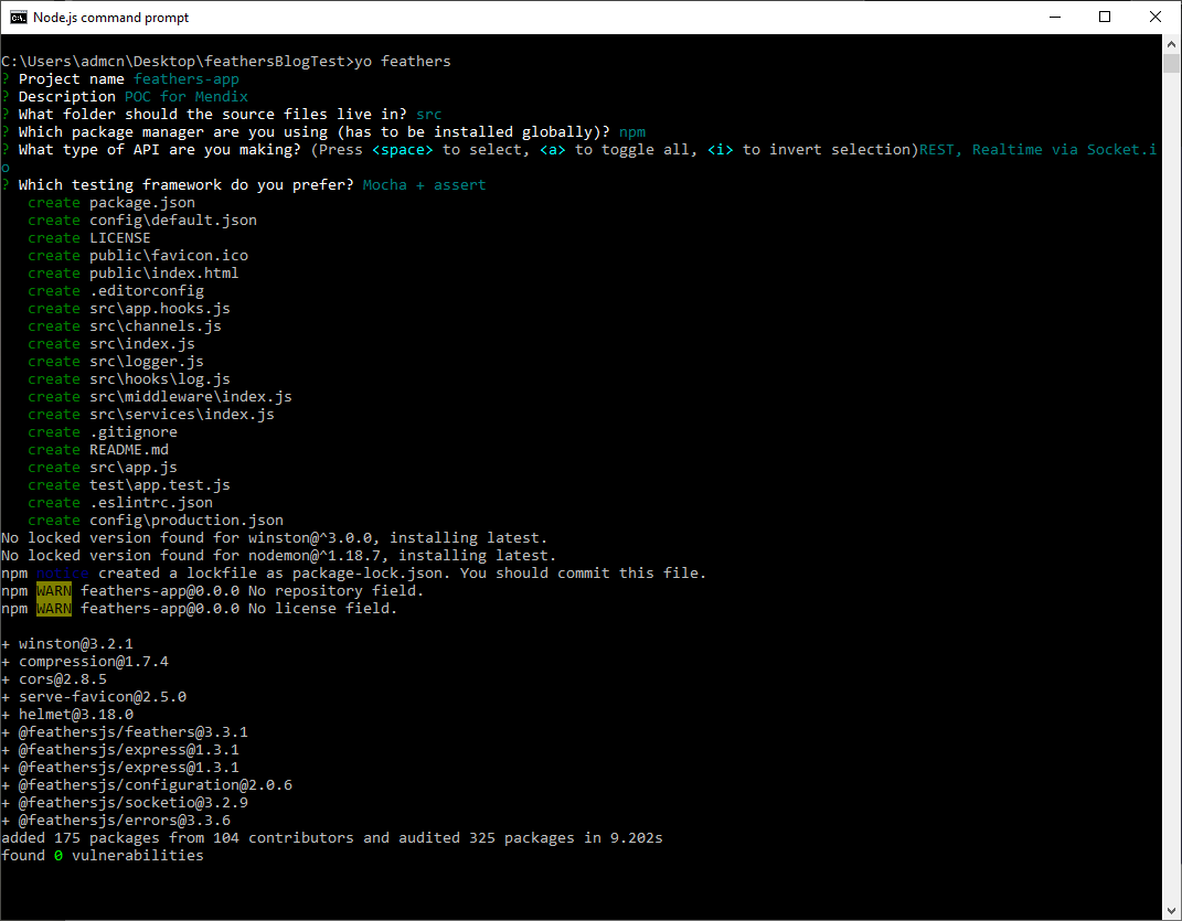 Node JS output