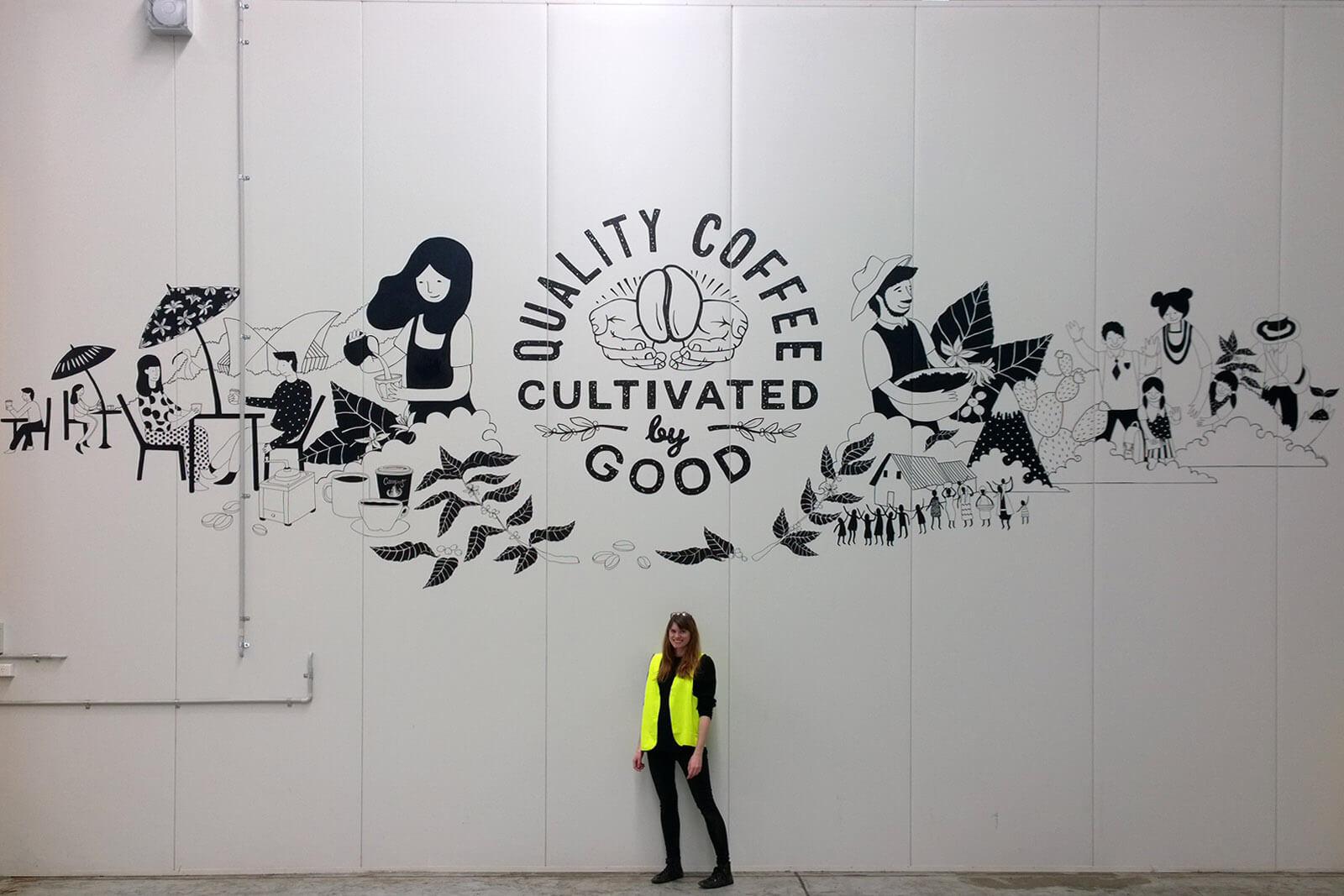 Campos Coffee warehouse mural, Sydney