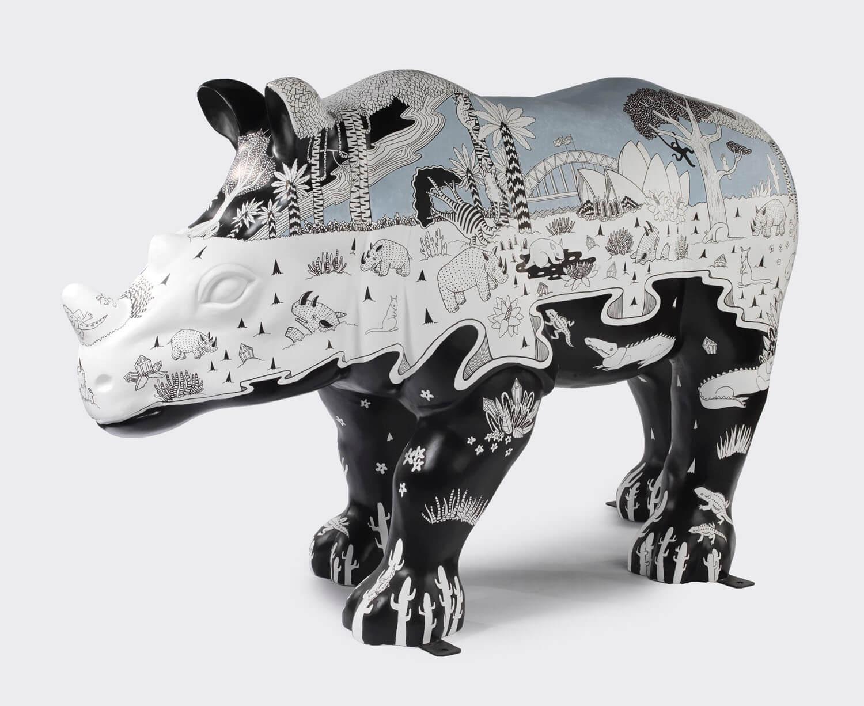 Taronga Zoo wild rhino sculpture artwork, sydney