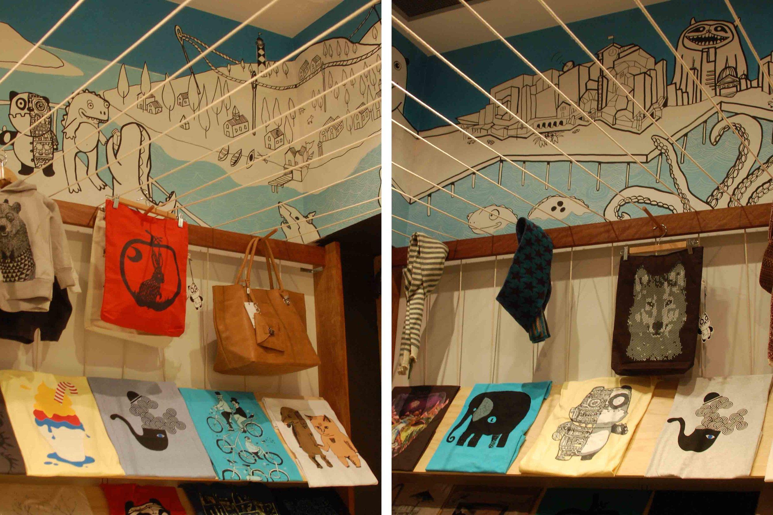 monsterthreads shop mural, melbourne