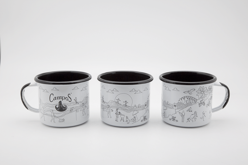 campos coffee enamel mug design