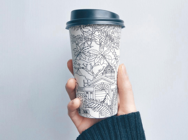 bio pack coffee cup illustration