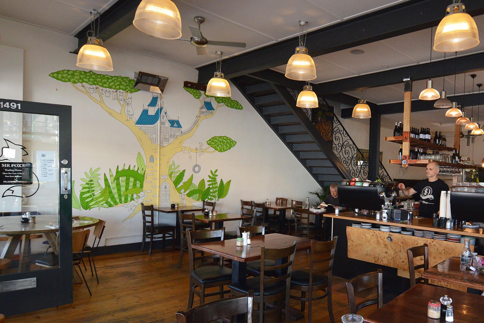 mr. foxx cafe wall mural, glen iris
