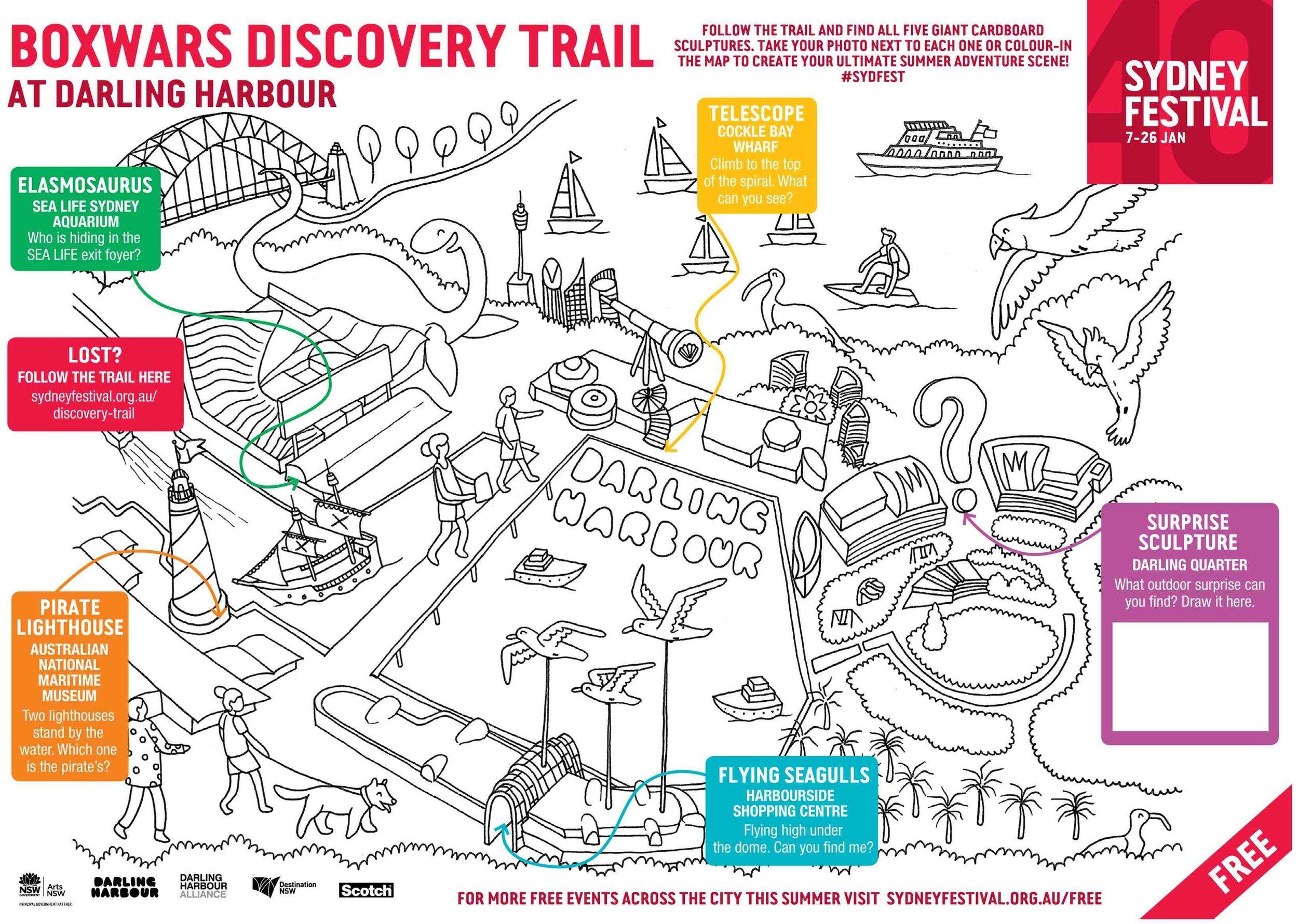 boxwars, darling harbour discovery trail map design