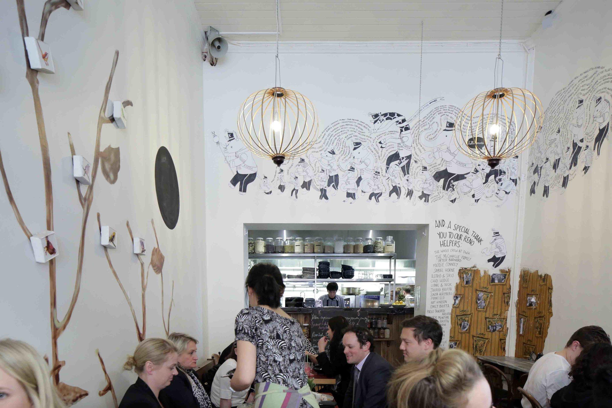 kinfolk cafe paste-up mural, melbourne