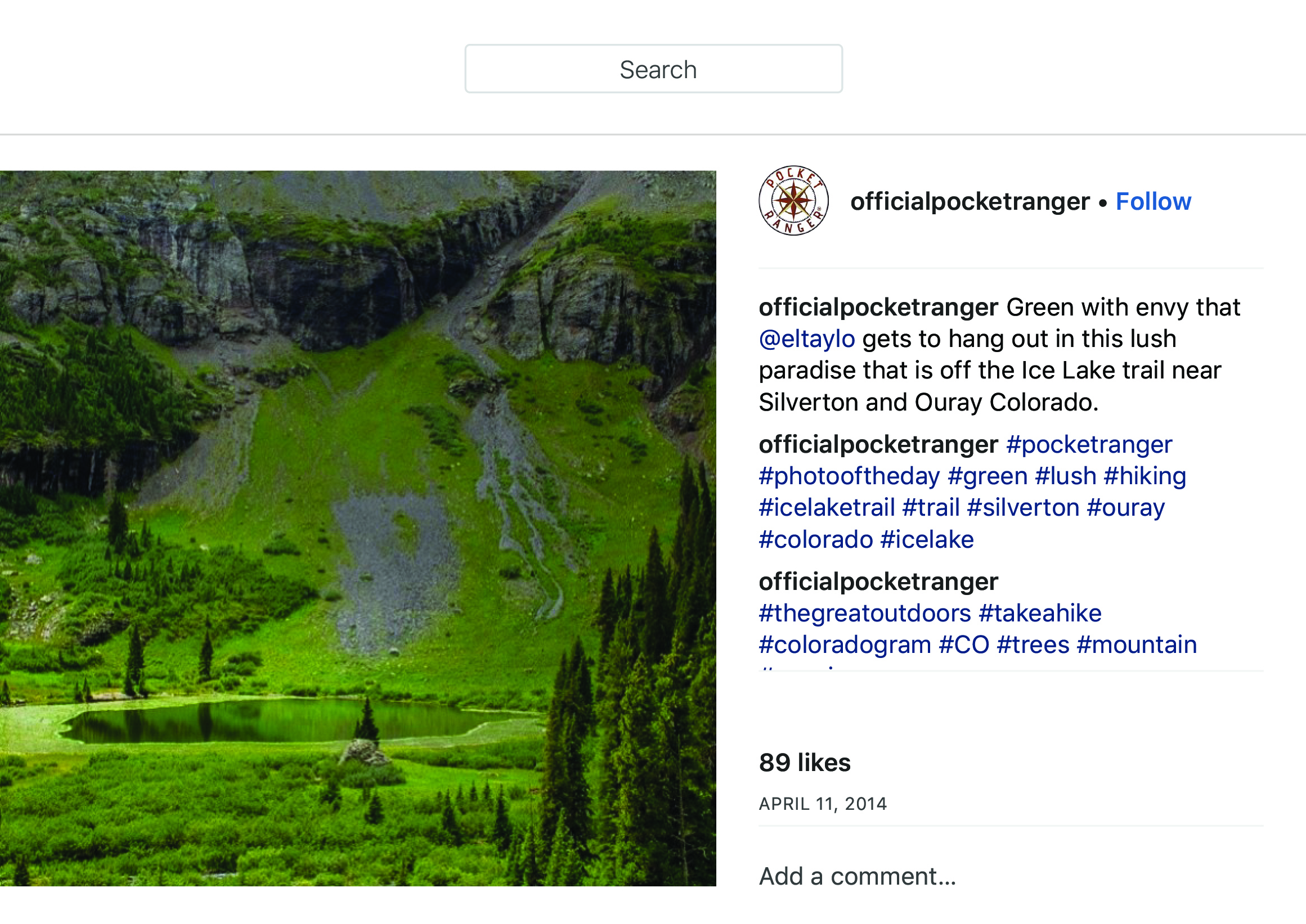 """OfficialPocketRanger on Instagram_ """"Green with envy that @eltaylo gets to hang out in this lush paradise that is off the Ice Lake trail near Silverton and Ouray Colorado."""" copy.jpg"""