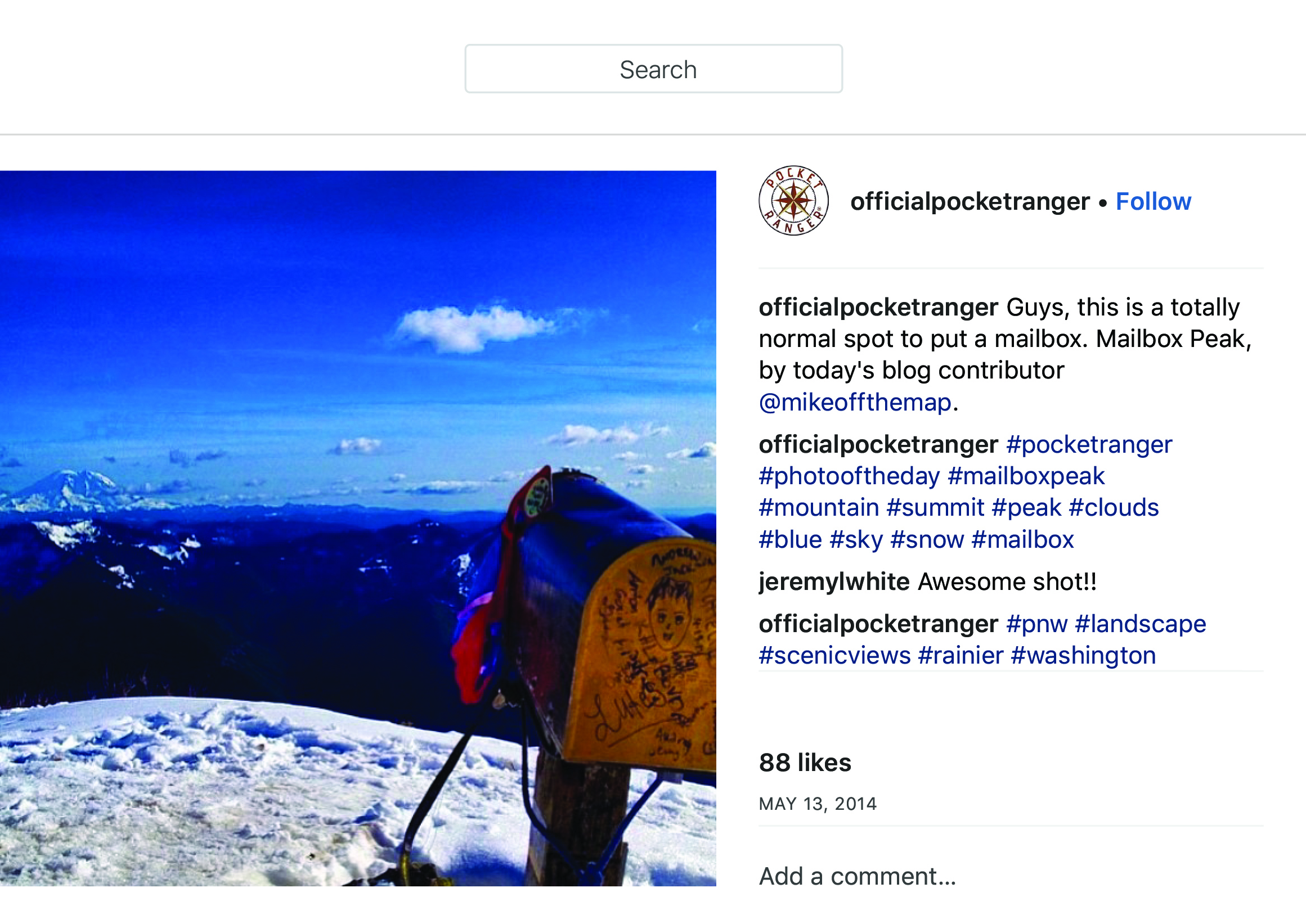 """OfficialPocketRanger on Instagram_ """"Guys, this is a totally normal spot to put a mailbox. Mailbox Peak, by today_s blog contributor @mikeoffthemap."""" copy.jpg"""