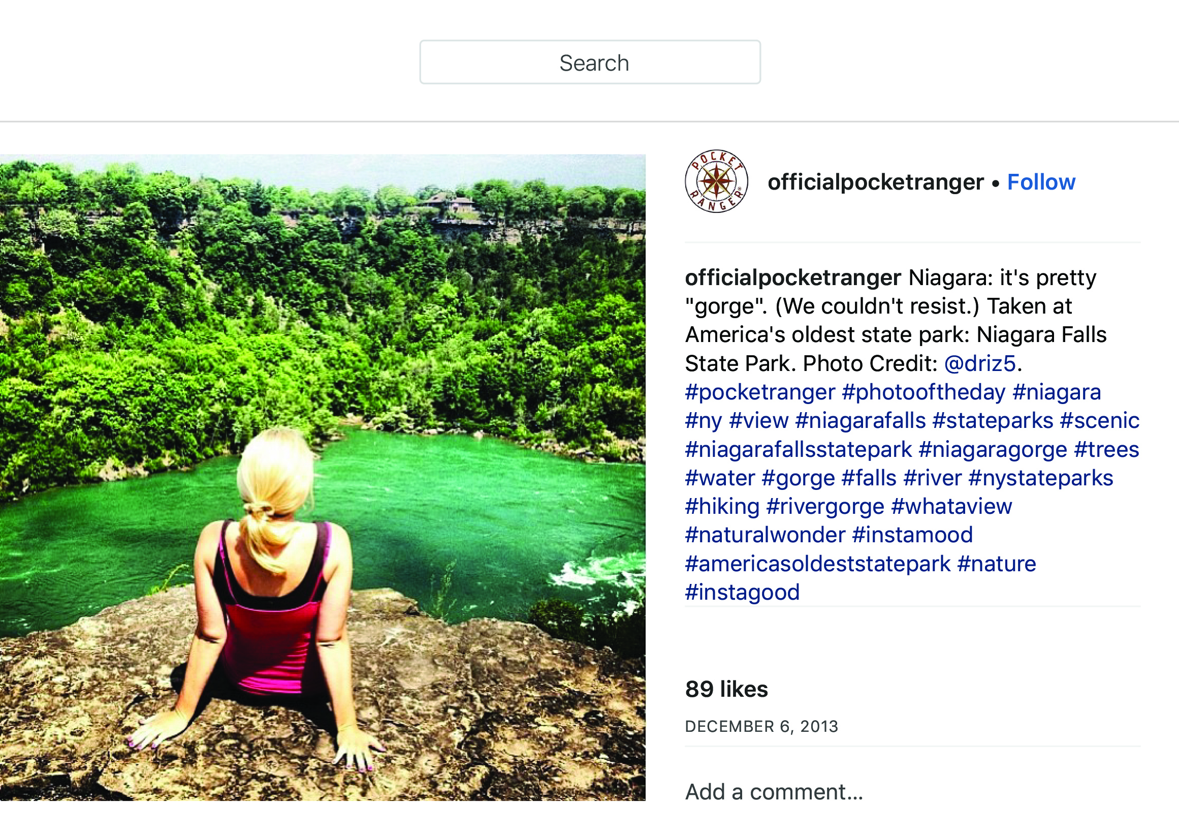 """OfficialPocketRanger on Instagram_ """"Niagara_ it_s pretty _gorge_. (We couldn_t resist.) Taken at America_s oldest state park_ Niagara Falls State Park. Photo Credit_ @driz5.…"""" copy.jpg"""