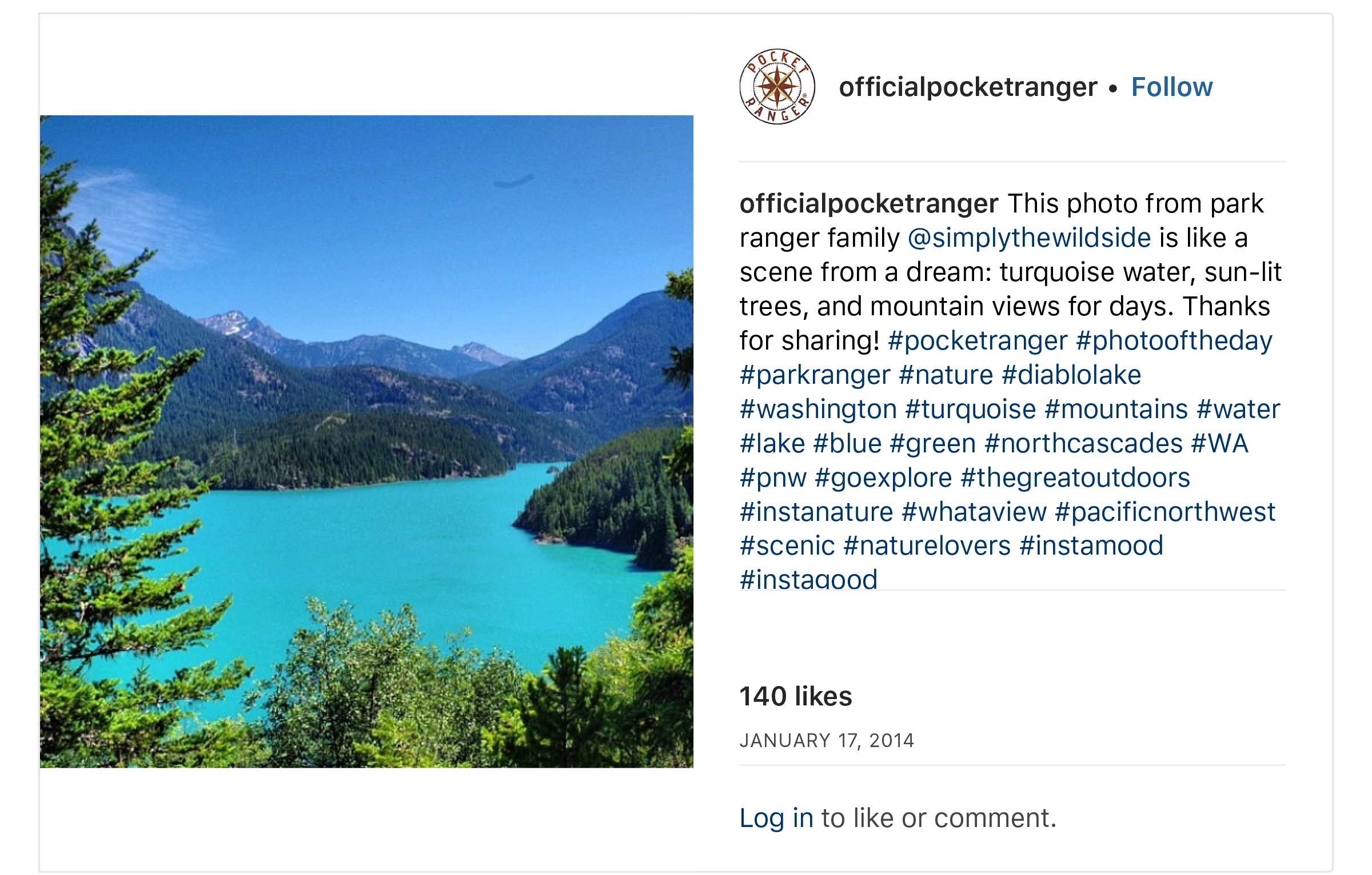 """OfficialPocketRanger on Instagram_ """"This photo from park ranger family @simplythewildside is like a scene from a dream_ turquoise water, sun-lit trees, and mountain views for…"""".jpg"""