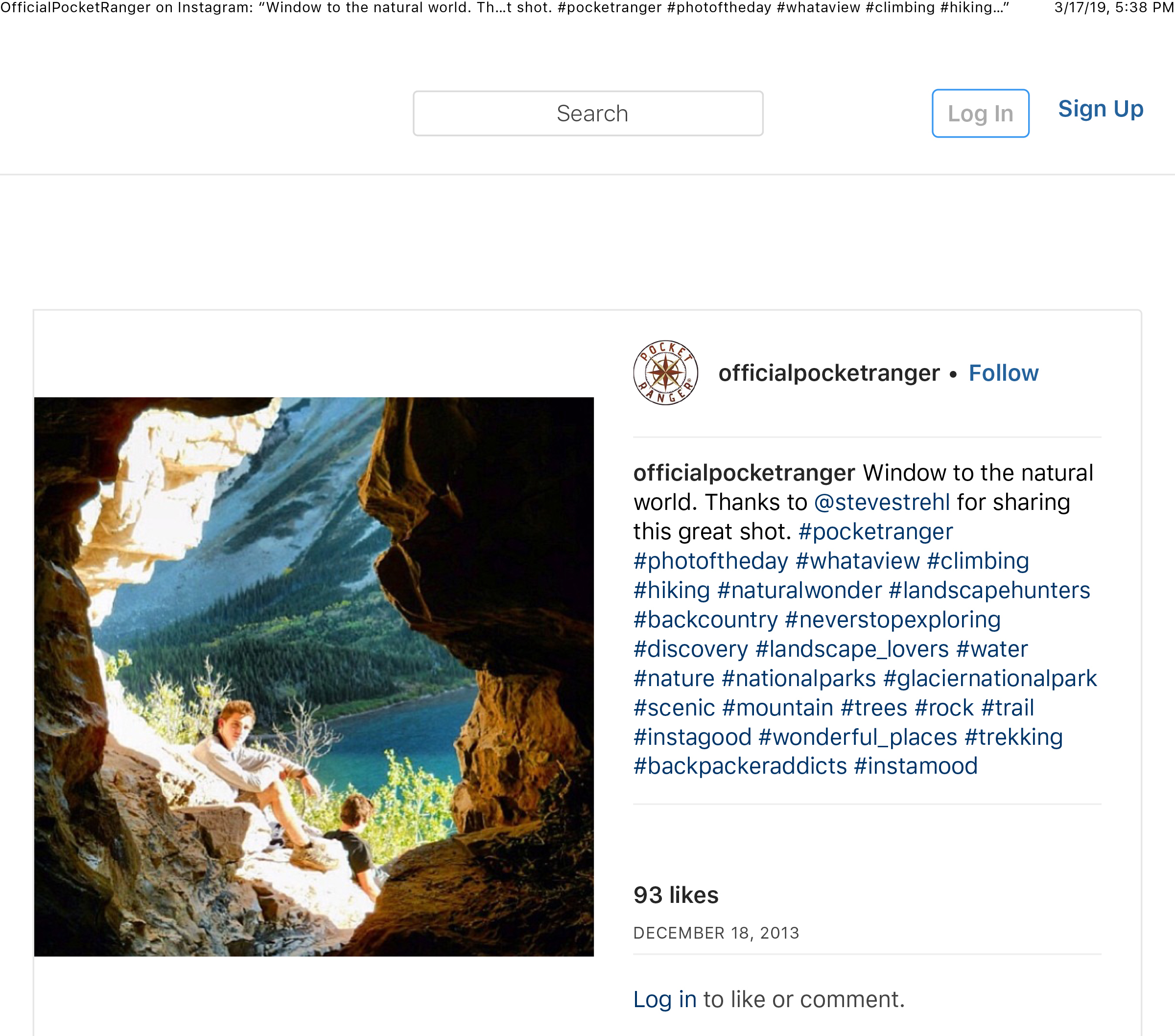 """OfficialPocketRanger on Instagram_ """"Window to the natural world. Thanks to @stevestrehl for sharing this great shot. #pocketranger #photoftheday #whataview #climbing #hiking…"""" copy.jpg"""