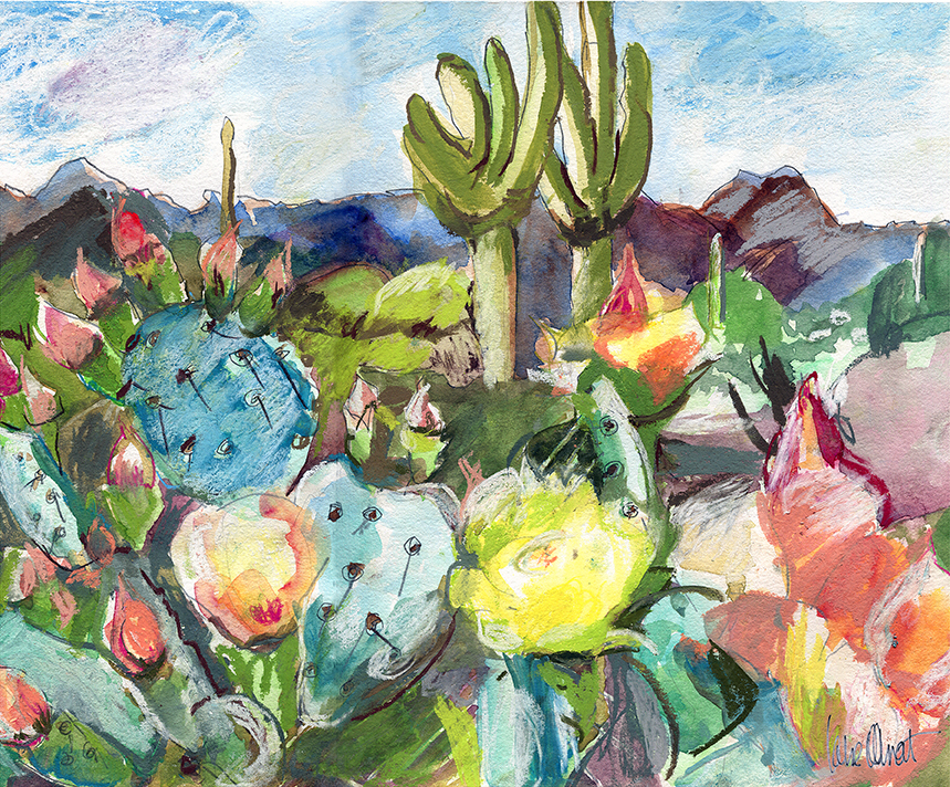'Blue Cacti' (2018) - 12 W x 10 HWATERCOLOR, PASTEL, GRAPHITE on WC PAPER