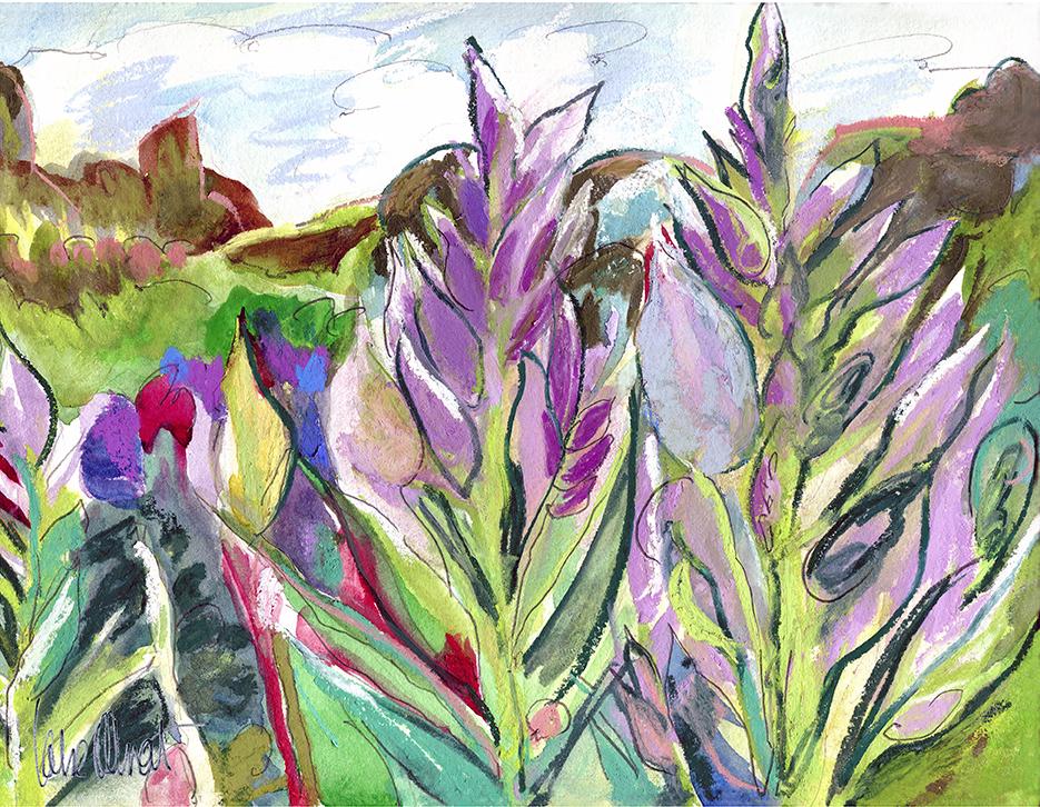 'Purple celosia' (2018) - 13 W x 10 H WATERCOLOR, GRAPHITE, PASTEL on WC PAPER