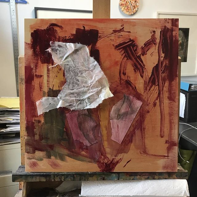 When I start a painting things look like a bloody mess....literally. #wip #10minutesin #mixedmediapainting #collage