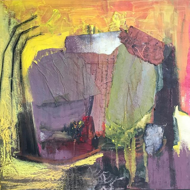 April's painting just a liiiiitle late. #collage #mixedmediapainting #mixedmedia #neartist #newenglandpainter #painting #abstractpainting #abstractlandscape