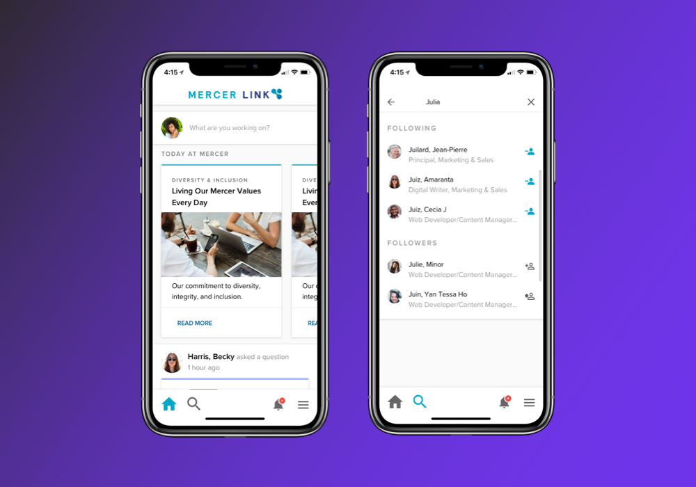 Social App - I designed an app that helps 22,000+ users share and access business information on the go.
