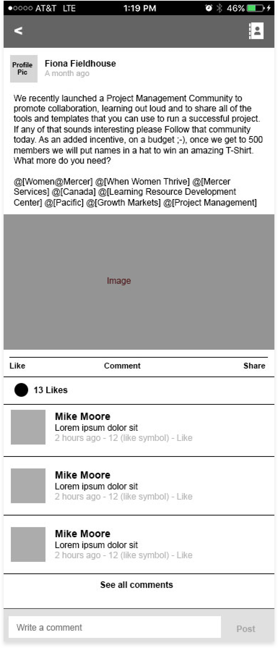 Image 1: An example post with comments and likes.