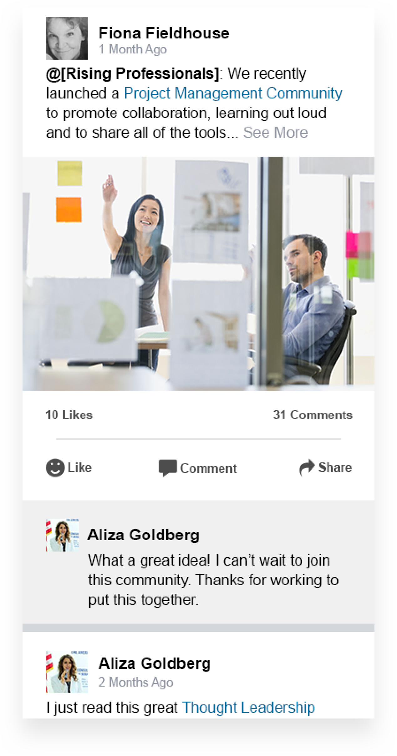 Image 4: a mid-fidelity mockup of a post with comments and likes.
