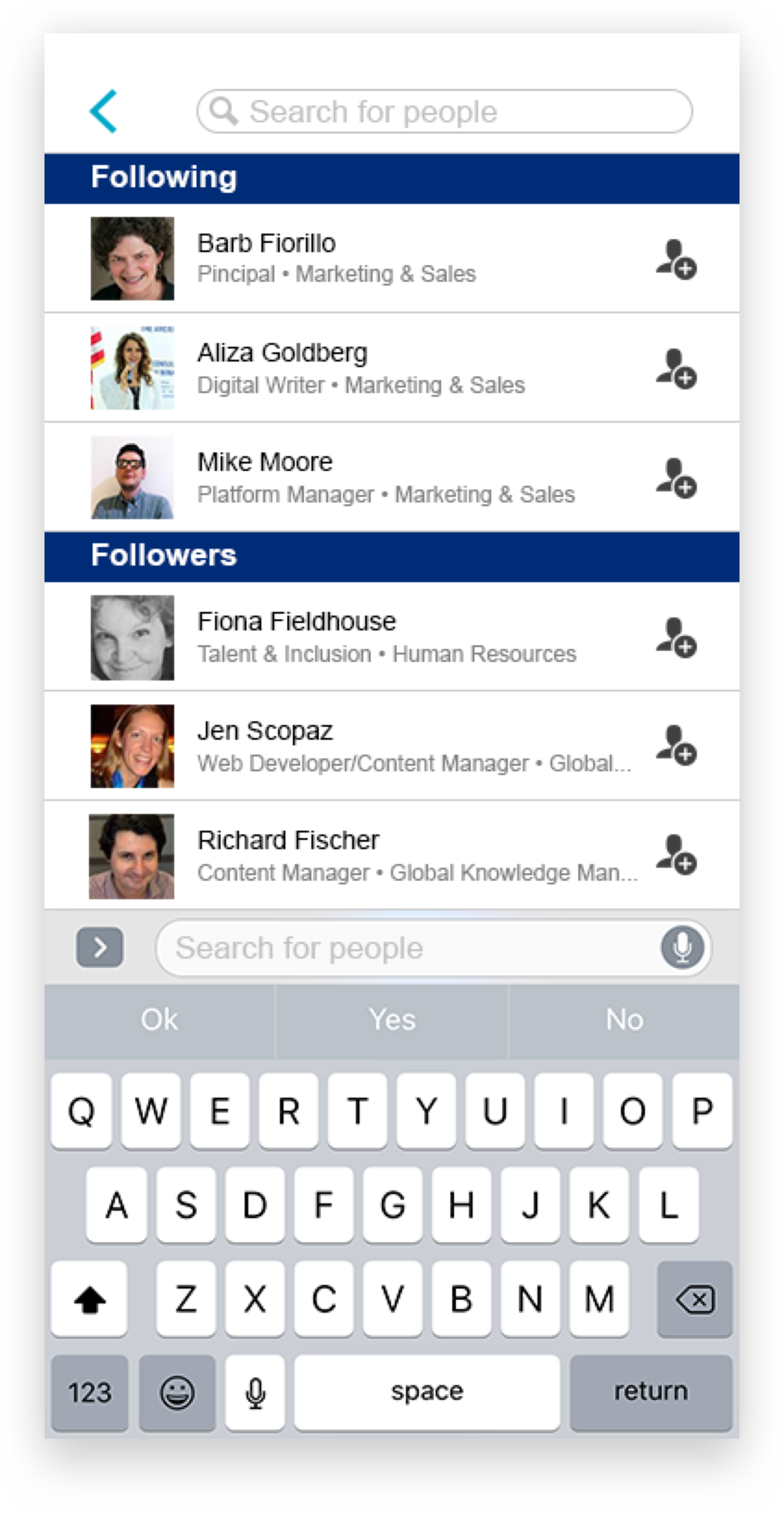 Image 5: a mid-fidelity mockup of an administrative screen that allows a user to see followers and who they are following.